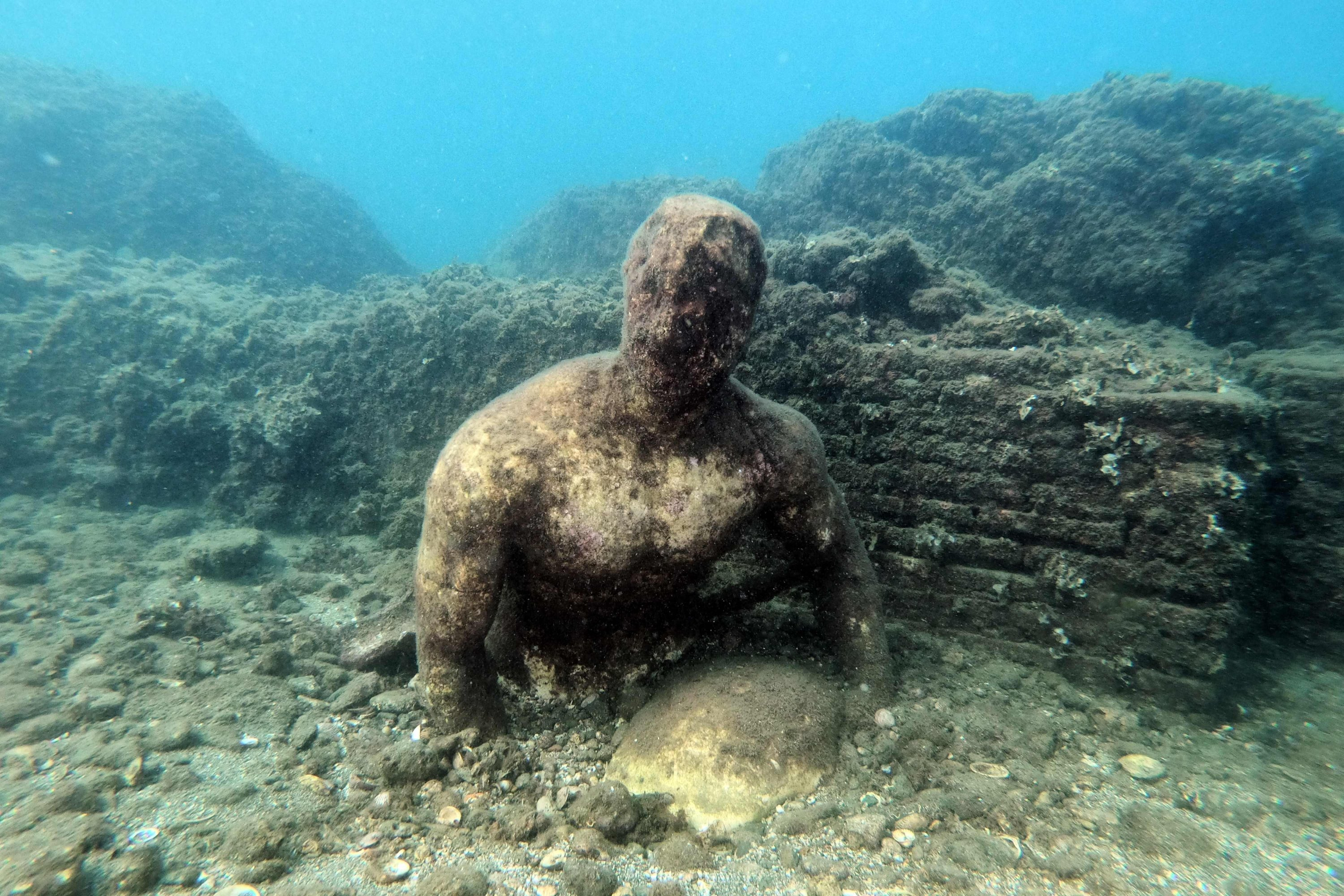 A copy of the original statue preserved at the Museum of Baiae, in the submerged ancient Roman city of Baiae, Pozzuoli near Naples, Italy, Aug. 18, 2021. (AFP Photo)