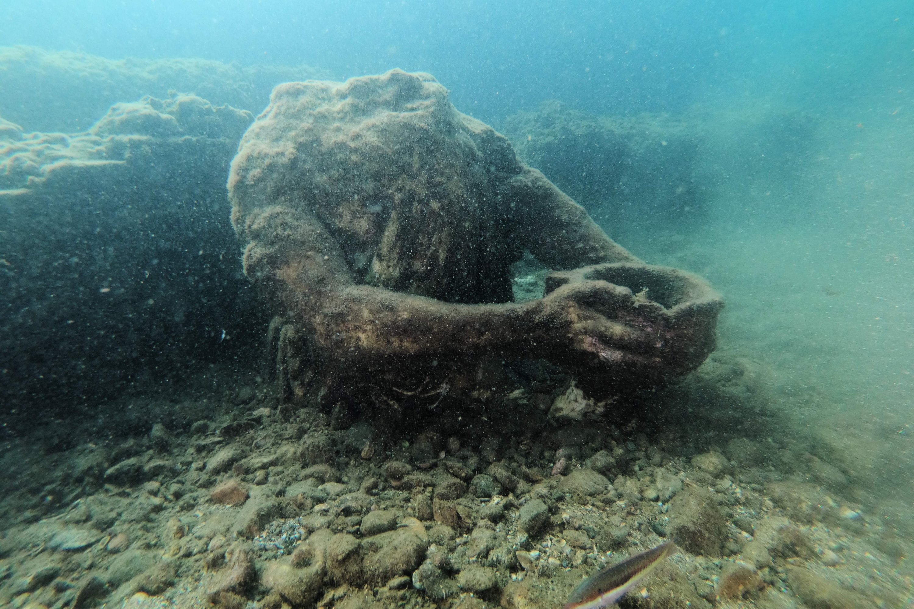 A copy of the original statue in the Baiae Museum, in the ancient submerged Roman city of Baiae, in Pozzuoli, near Naples, Italy, August 18, 2021. (AFP Photo)
