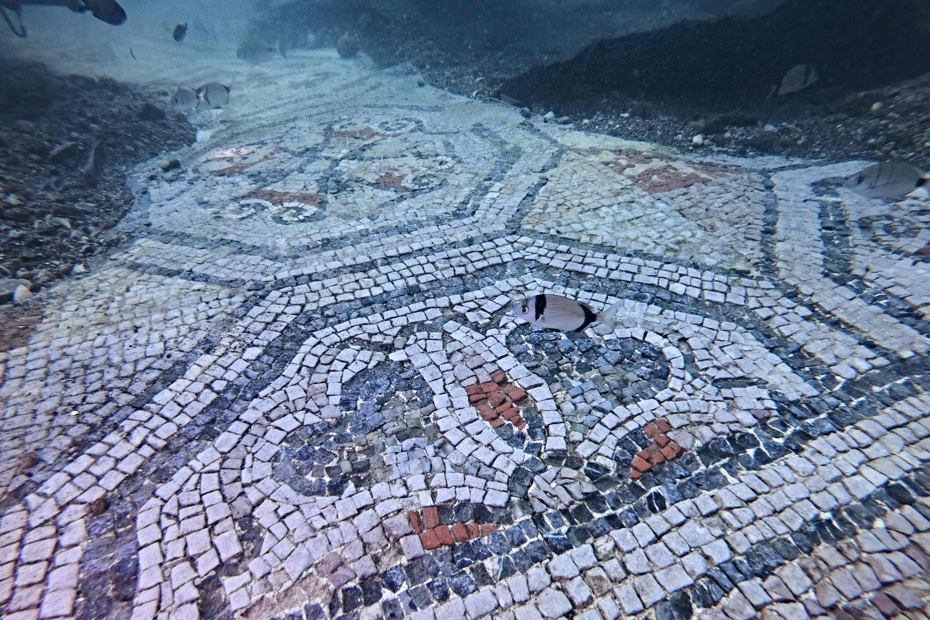 A mosaic from Terme del Lacus,in the submerged ancient Roman city of Baiae, Pozzuoli near Naples, Italy, Aug. 18, 2021. (AFP Photo)