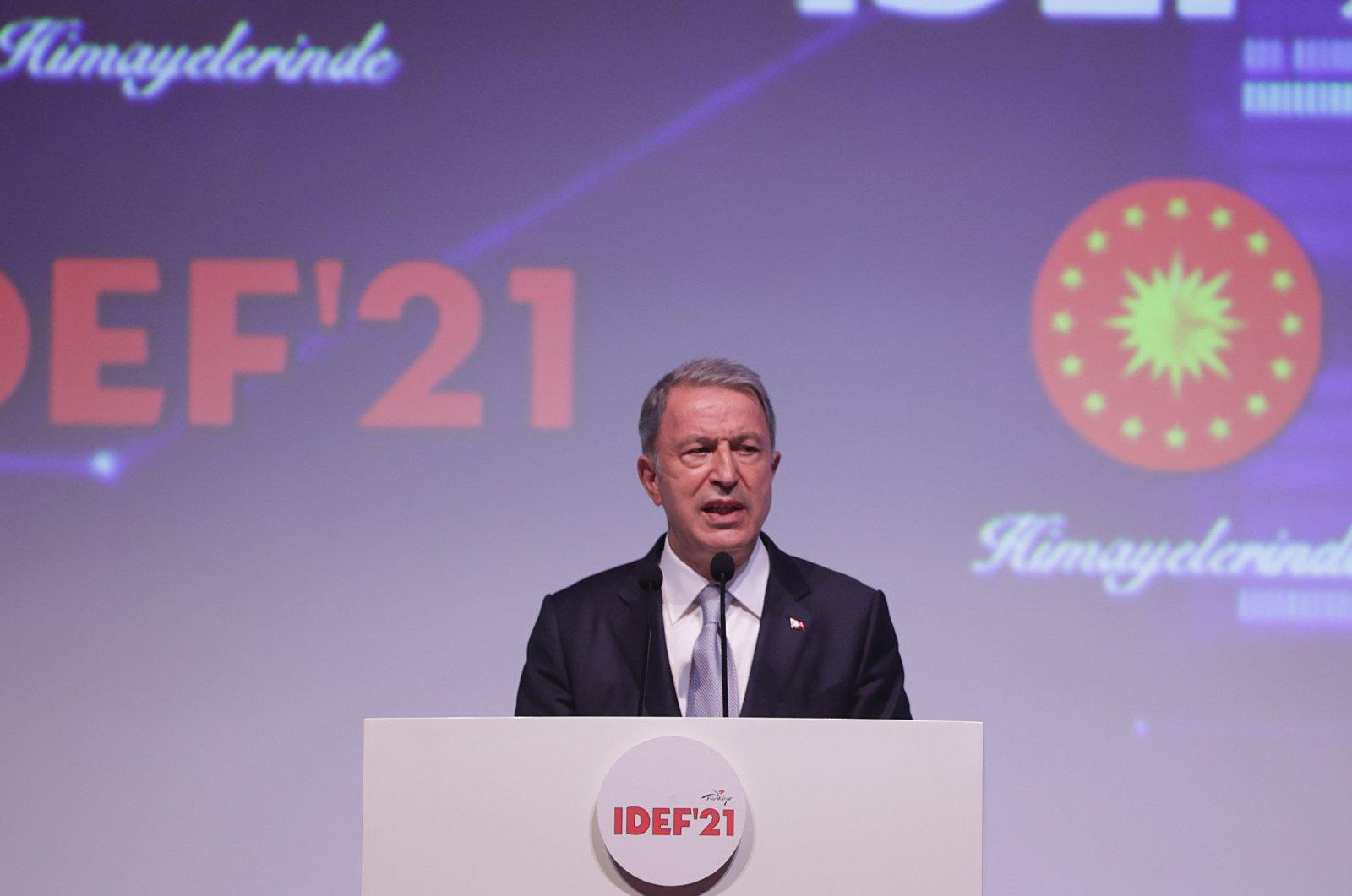 Defense Minister Hulusi Akar speaks at the International Defense Industry Fair (IDEF 2021) in Istanbul, Turkey, Aug. 17, 2021. (AA Photo)