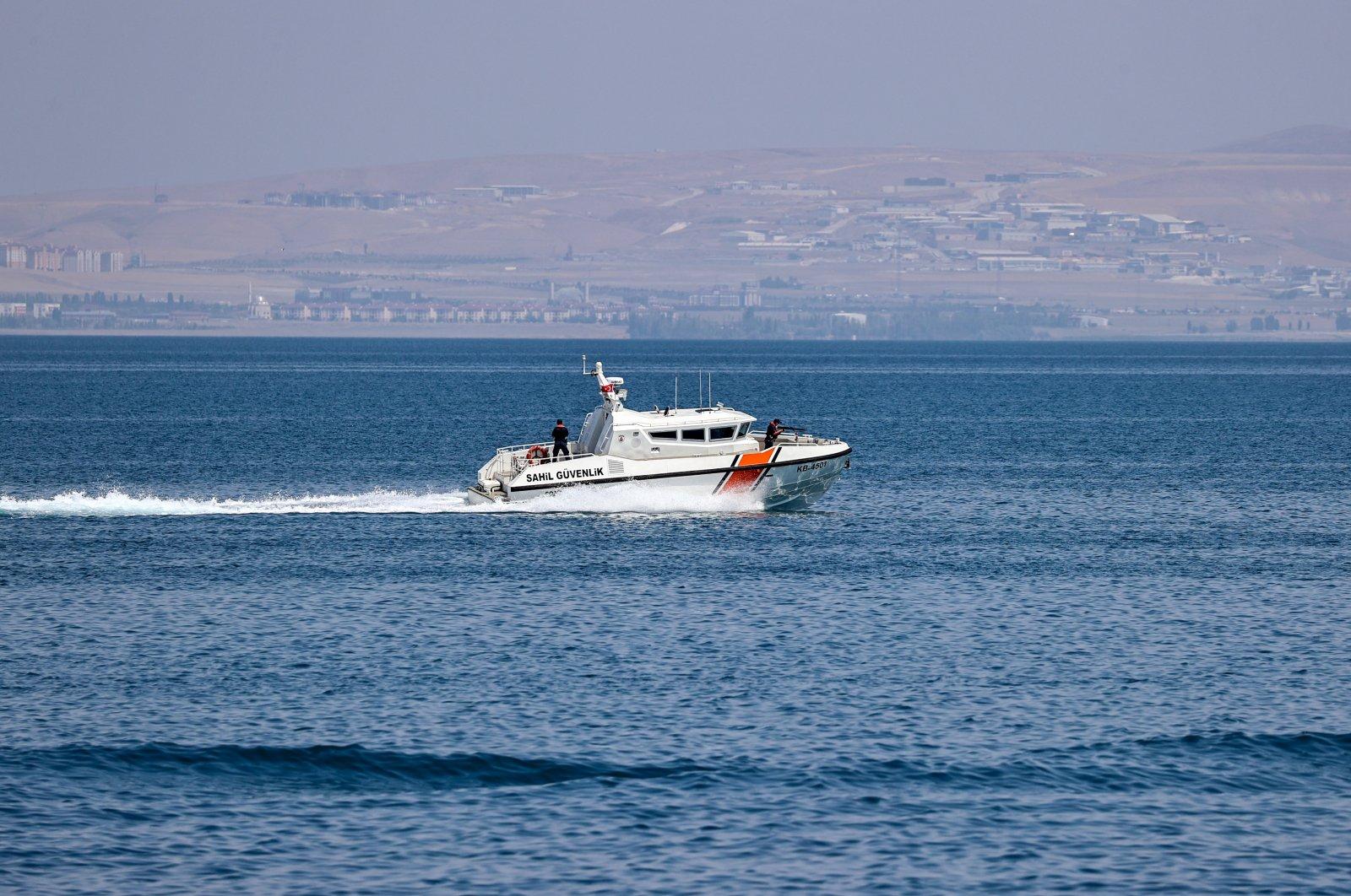 A coast guard boat is seen on Lake Van, Van, eastern Turkey, Aug. 19, 2021. (AA Photo)