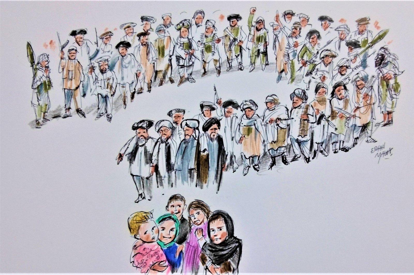 Illustration by Erhan Yalvaç, shows Afghan refugees and Taliban fighters.