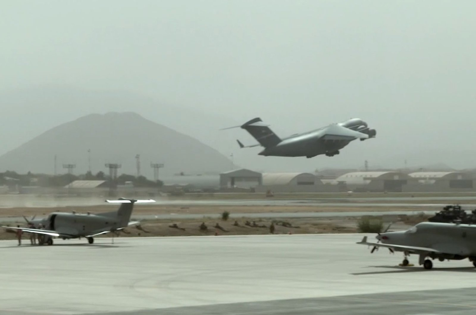 An evacuation plane takes off from Afghanistan's Kabul Hamid Karzai International Airport, Kabul, Afghanistan, Aug. 22, 2021. (Ministry of National Defense handout via DHA)