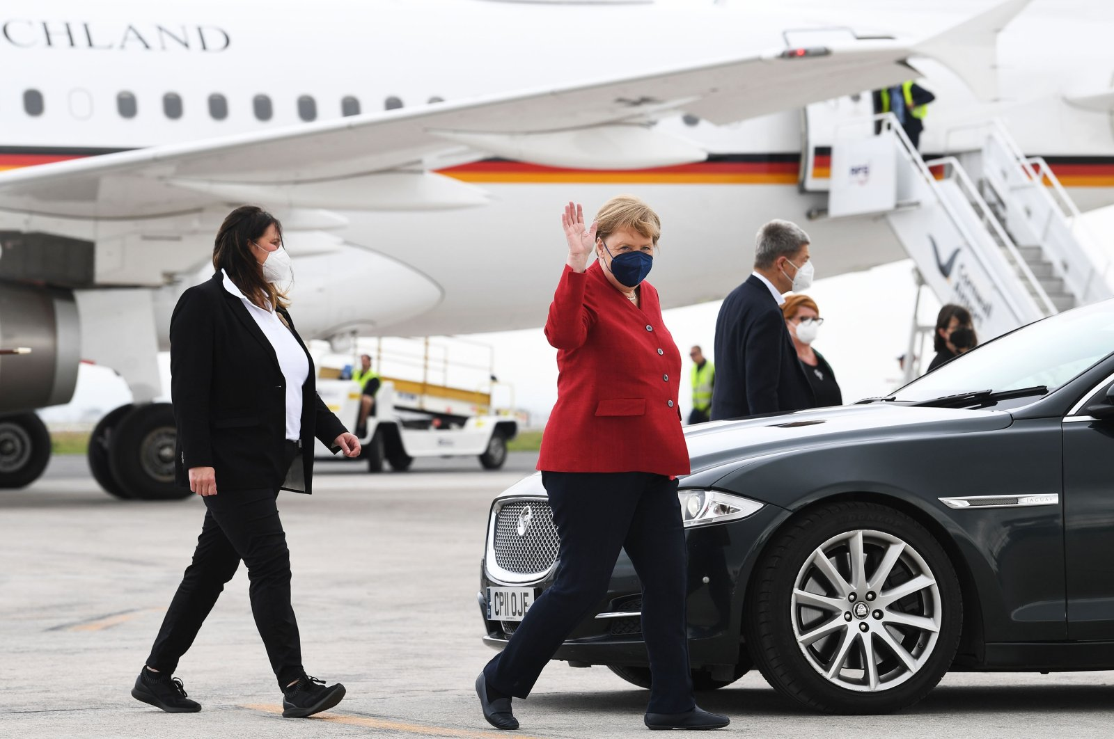 German Chancellor Angela Merkel arrives at Newquay Airport on June 11, 2021, Newquay, England. (Getty Images)