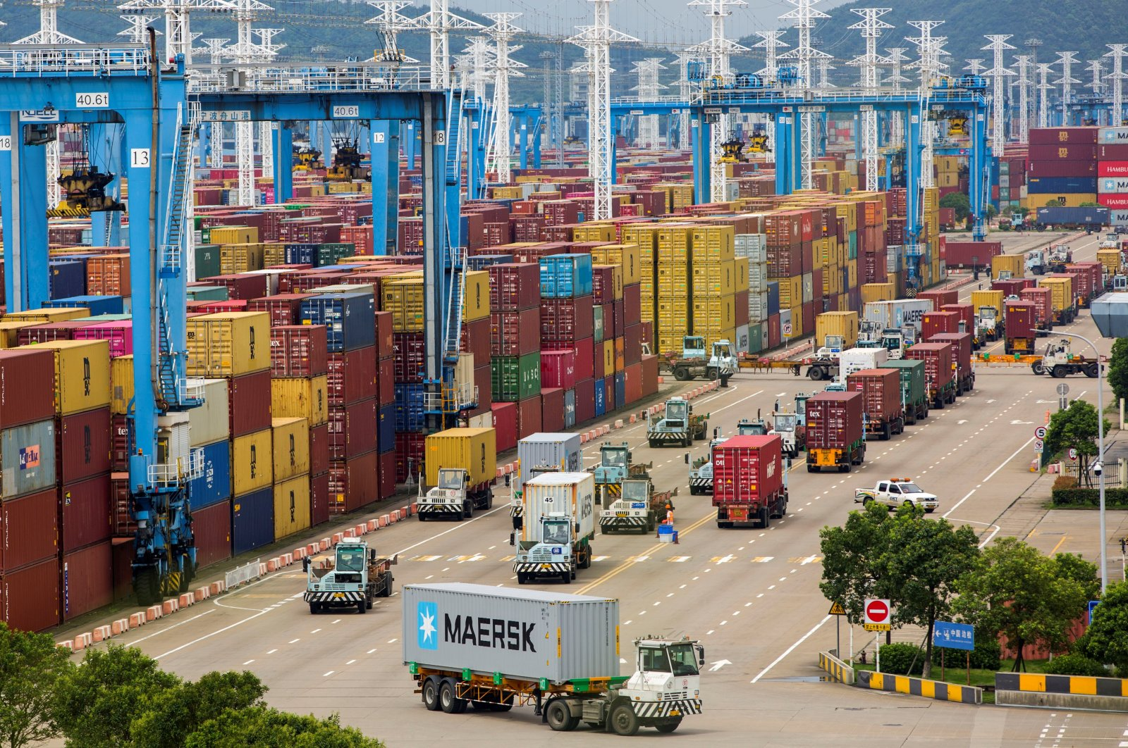Lines of trucks are seen at a container terminal of Ningbo Zhoushan port in Zhejiang province, China, Aug. 15, 2021. (Reuters Photo)
