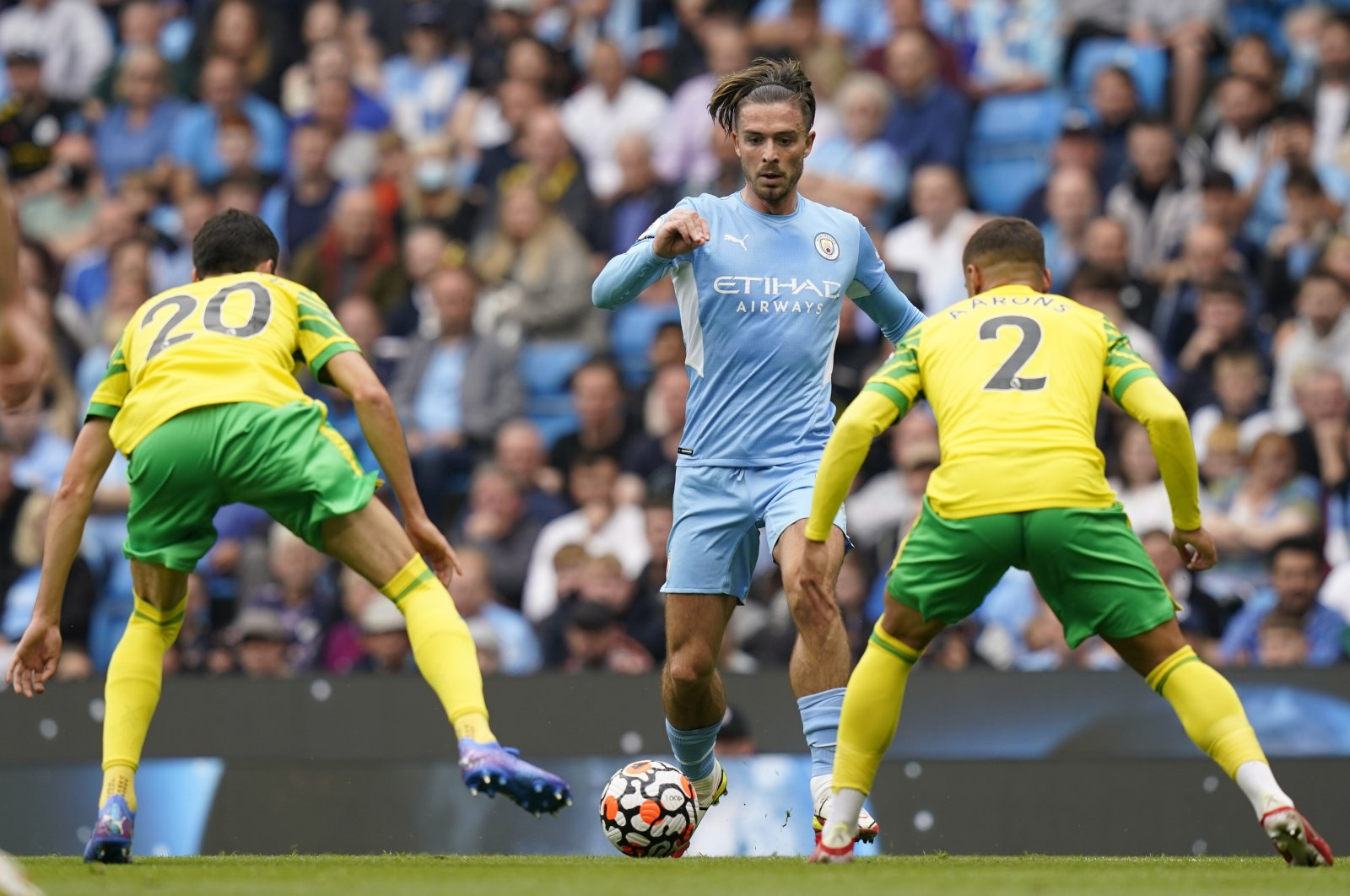 Manchester City's Jack Grealish in action during a Premier League match against Norwich City in Manchester, England, Aug. 21, 2021. (EPA Photo)