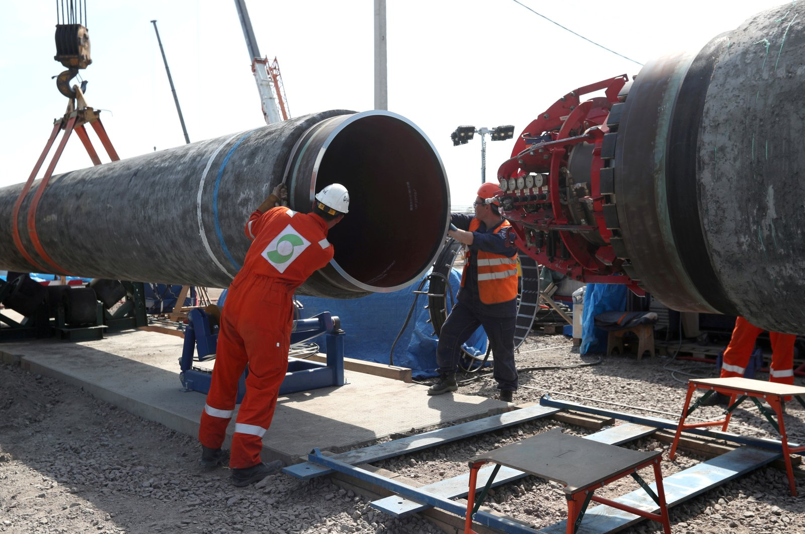 Workers are seen at theconstruction siteof the NordStream2 gas pipeline, near the town of Kingisepp, Leningrad region, Russia, June 5, 2019. (Reuters Photo)