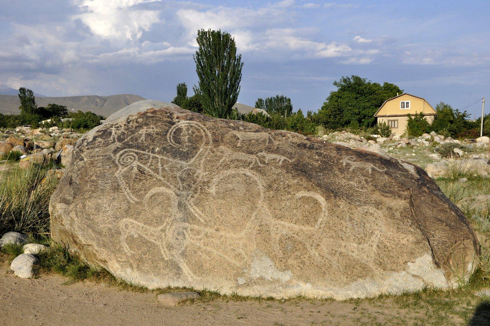 A petroglyph in the Petroglyph Open Air Museum, Cholpon-Ata, Kyrgyzstan, Aug. 22, 2021. (AA Photo)