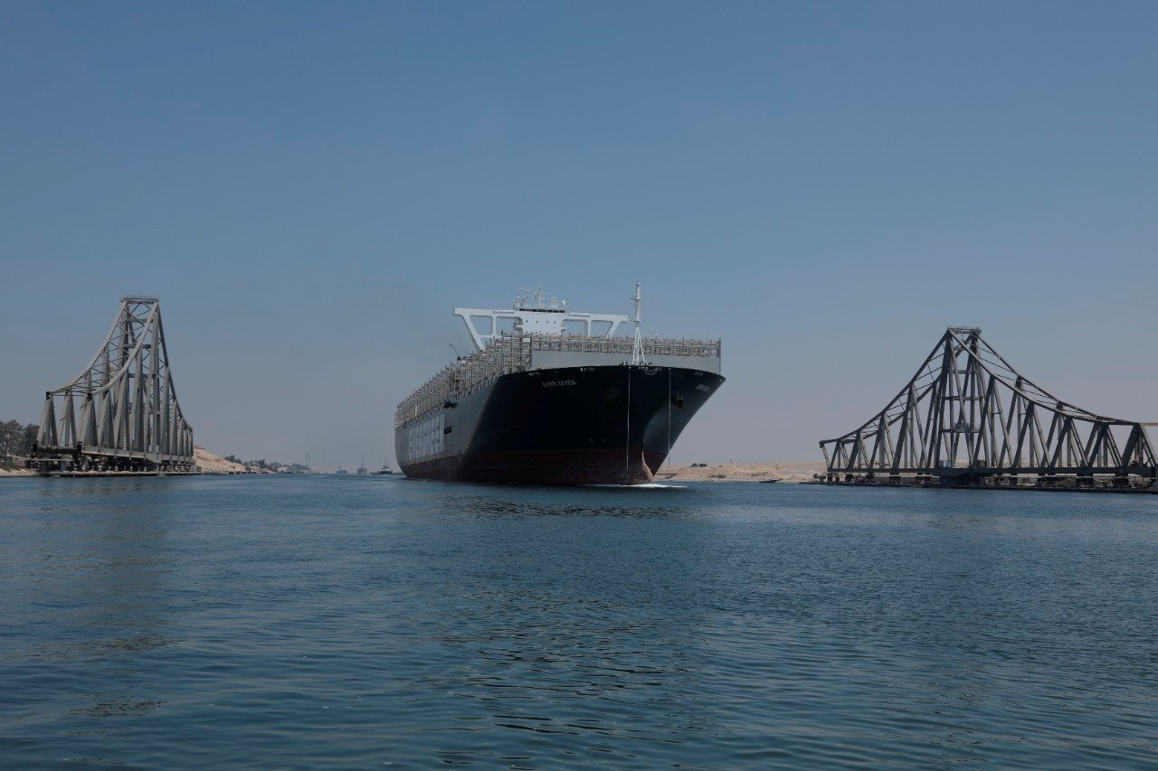 Ever Given, one of the world's largest container ships, is seen after sailing through Suez Canal in Ismailia, Egypt August 20, 2021. (Reuters Photo)
