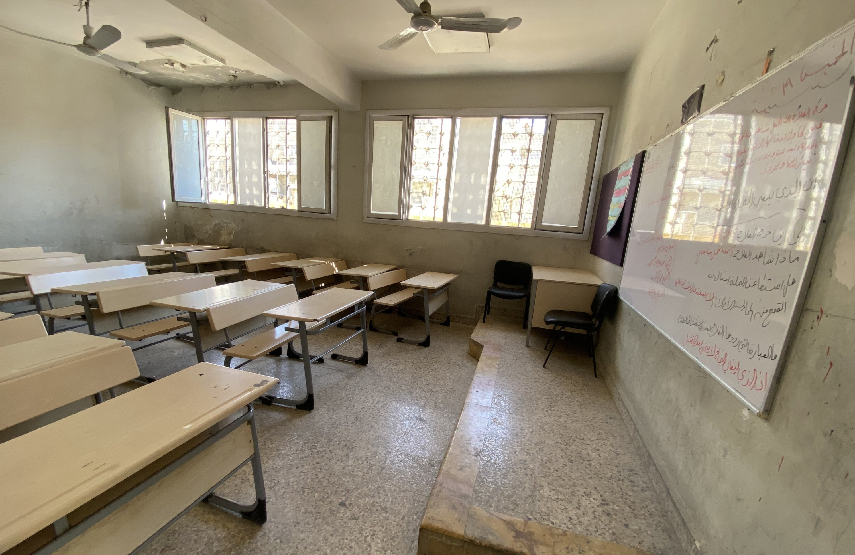 A classroom in a school reconstructed with the support of Turkey is seen in Azaz, northern Syria, Aug. 23, 2021. (AA Photo)