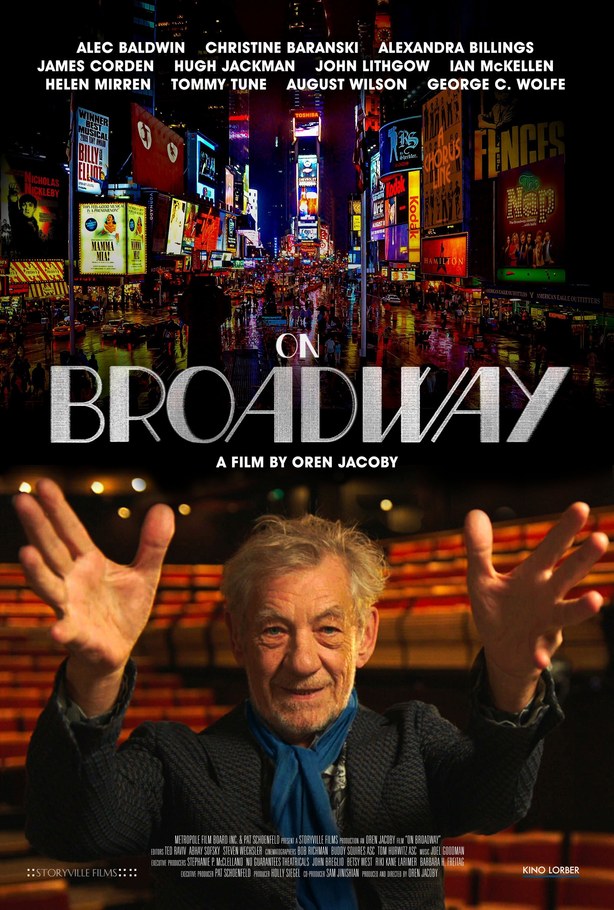 Actor Ian McKellen can be seen inpromotional art for the documentary 'On Broadway,' a new documentary celebrating the Great White Way. (Kino Lorber via AP)
