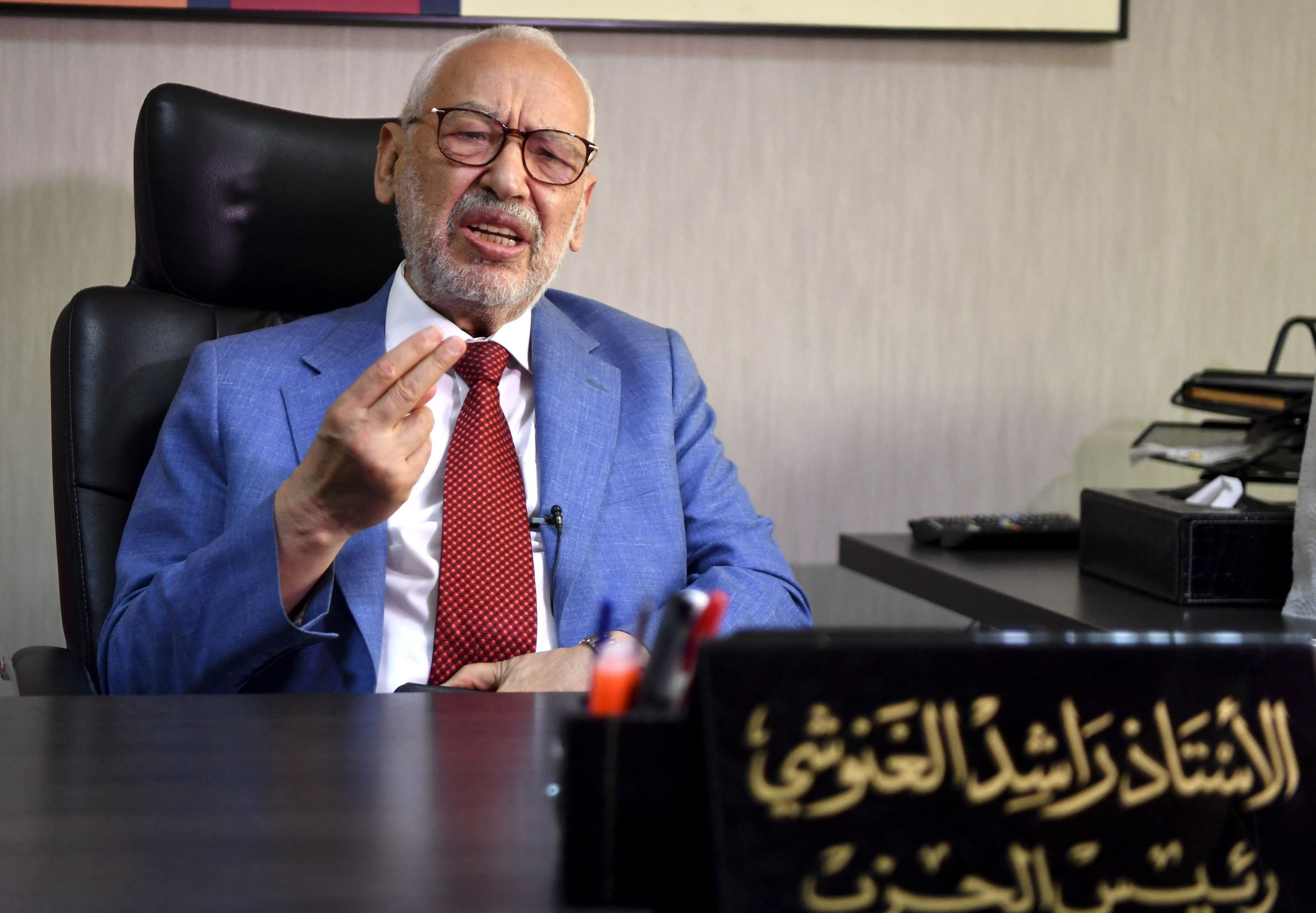 Tunisia's parliament speaker and Ennahdha party leader Rached Ghannouchi gives an interview with AFP at his office in the capital Tunis, Tunisia on July 29, 2021. (AFP Photo)