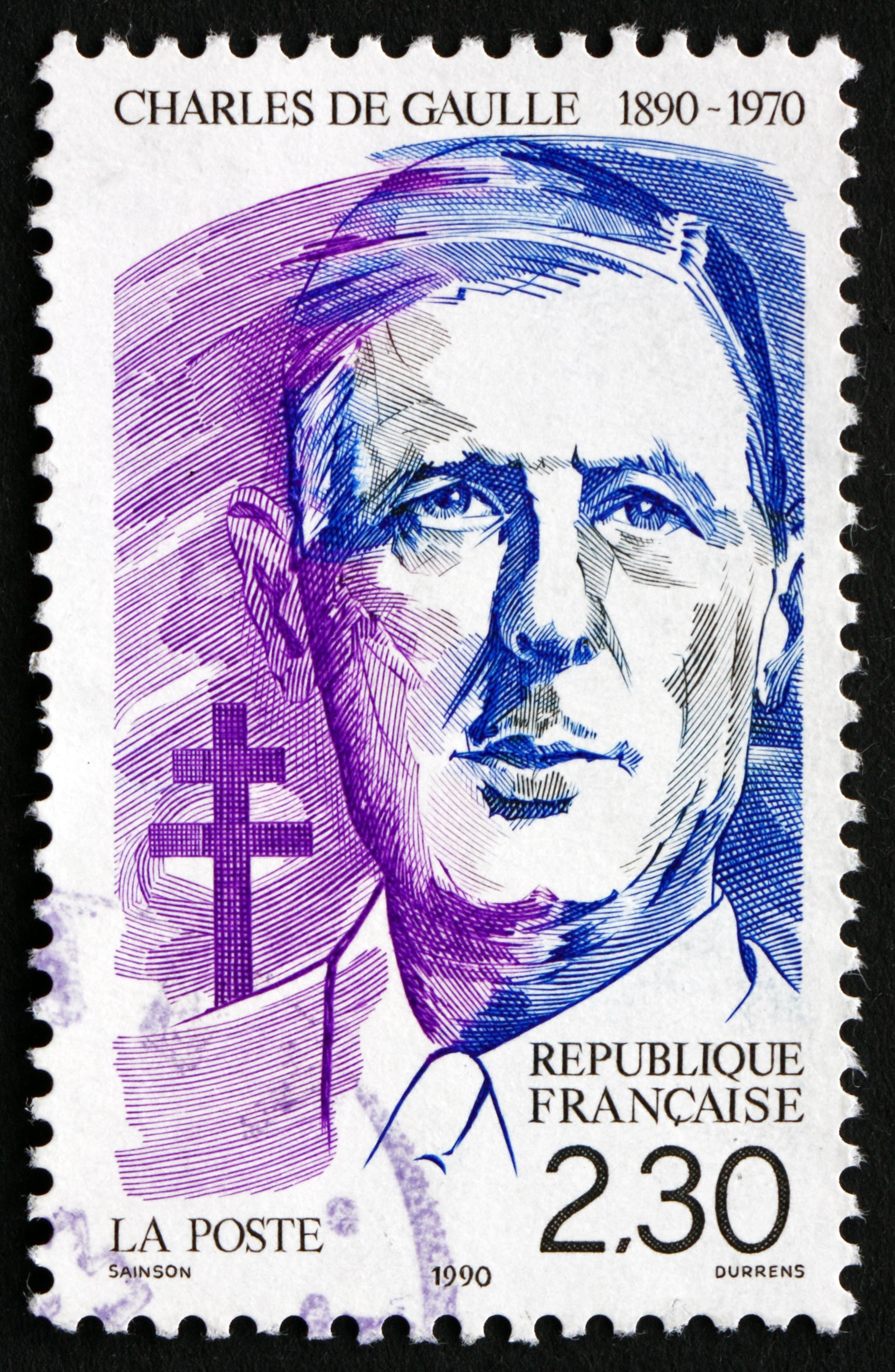 A stamp printed in France shows Charles de Gaulle, French general and statesman, president of the French Republic, circa 1990. (Shutterstock Photo)