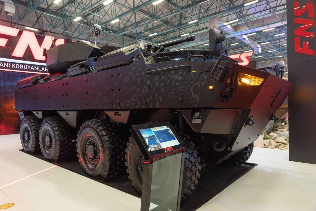 An armored vehicle by the FNSS at IDEF, Istanbul, Turkey, Aug. 18, 2021. (AA Photo)