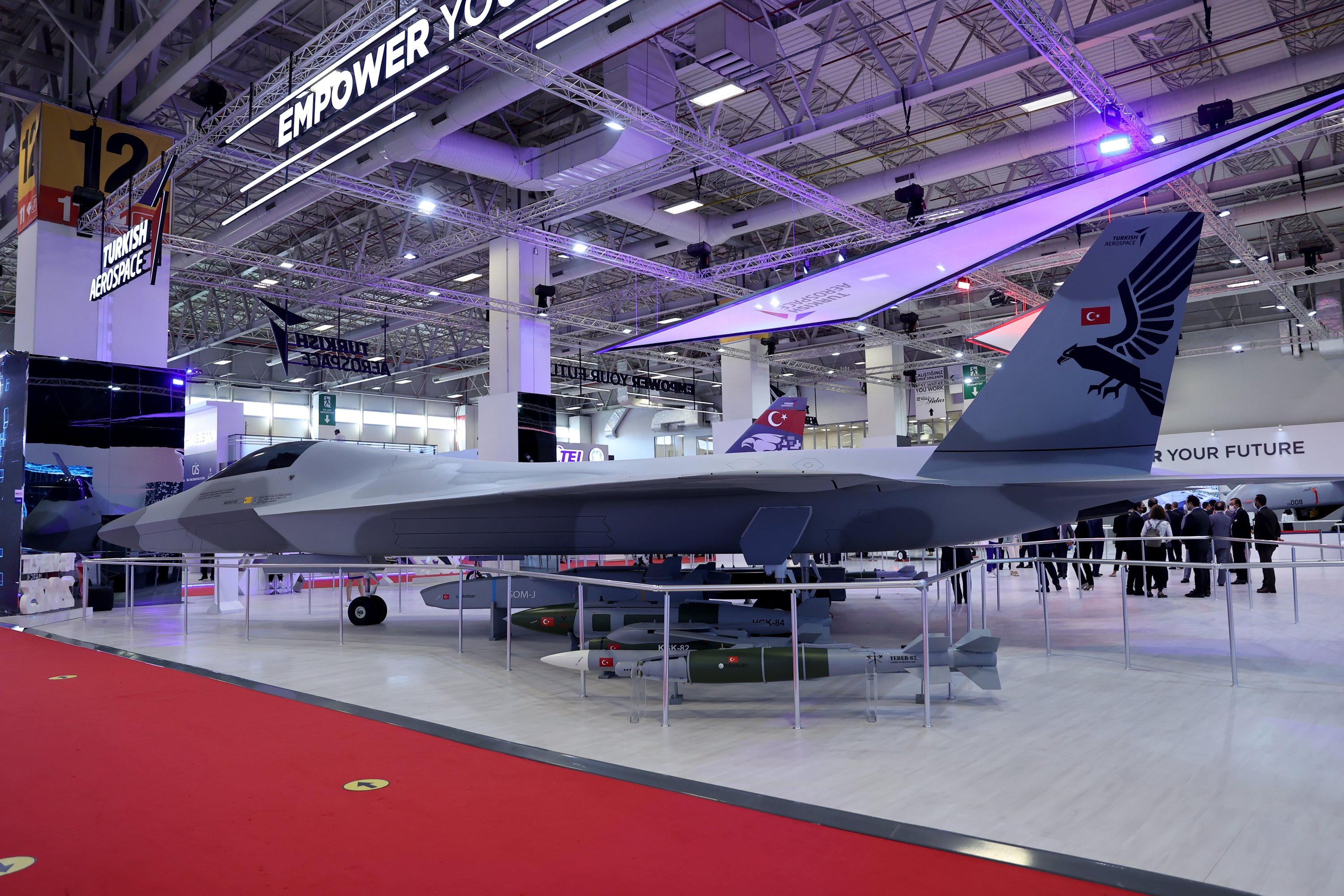 The National Combat Aircraft (MMU) of the TAI on display at the IDEF, Istanbul, Turkey, Aug. 18, 2021. (AA Photo)