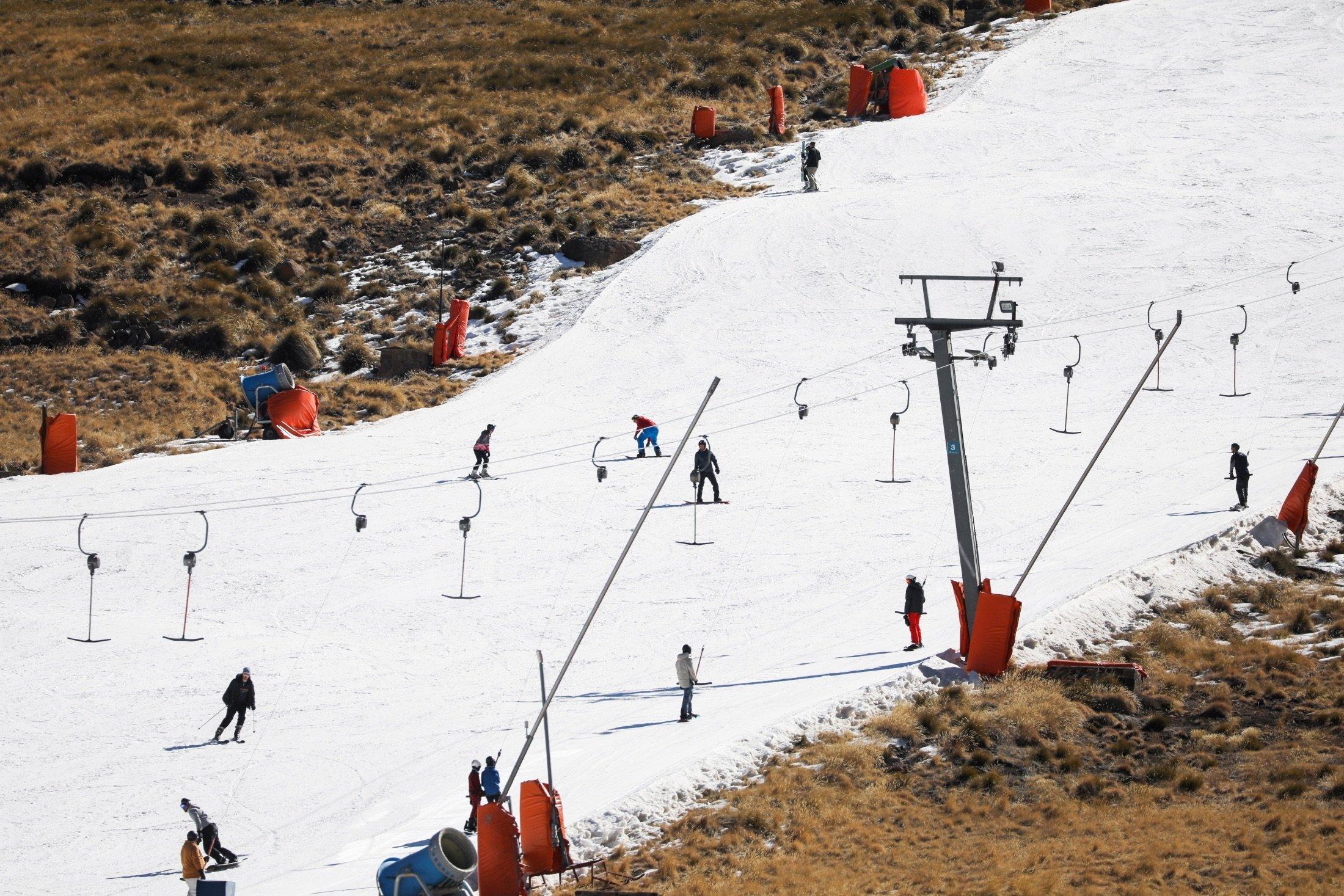 People ski at Kapoko Snow Park at Afriski Mountain Resort in Butha Buthe, Lesotho, July 31, 2021. (Reuters Photo)