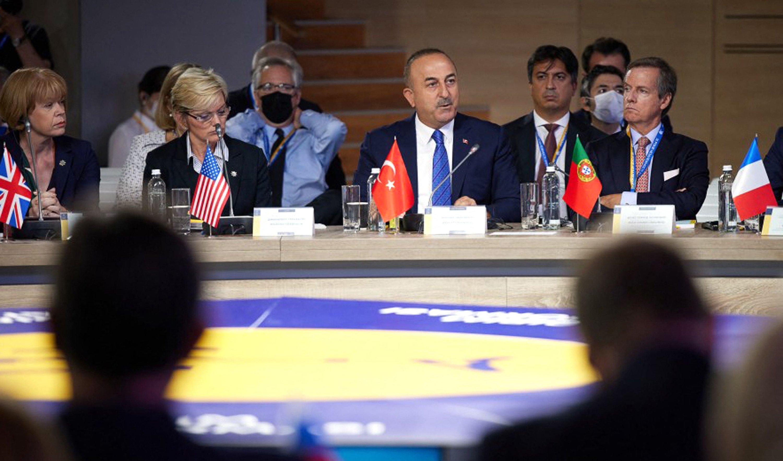 Turkish Foreign minister Mevlüt Çavuşoğlu (C) speaking during the Crimean Platform Summit in Kyiv, Ukraine, Aug. 23, 2021. (AFP Photo)