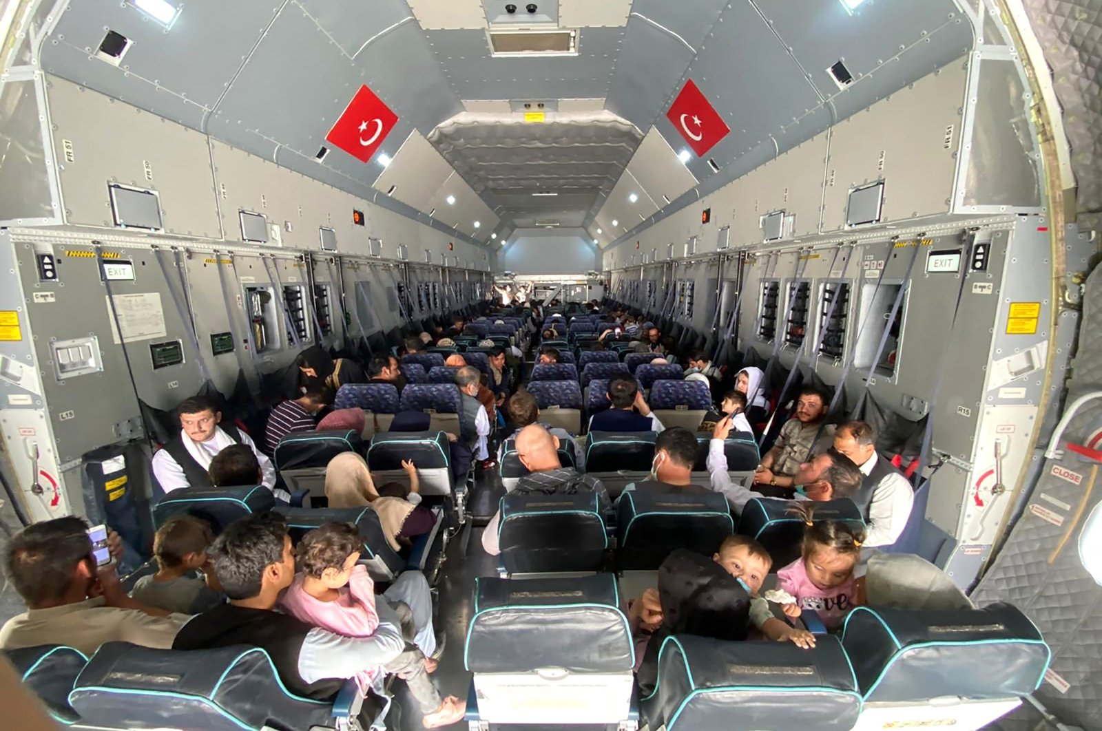 Turkish citizens on an A400 M type transport aircraft of the Turkish Air Force at Kabul Hamid Karzai International Airport, Aug. 18, 2021. (Defense Ministry Handout)