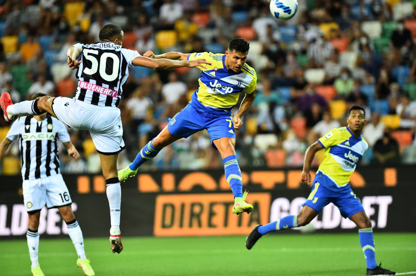 Juventus' Cristiano Ronaldo scores a goal that is later disallowed after a VAR review during a Serie A match against Udinese at the Dacia Arena, Udine, Italy, Aug. 22, 2021. (Reuters Photo)