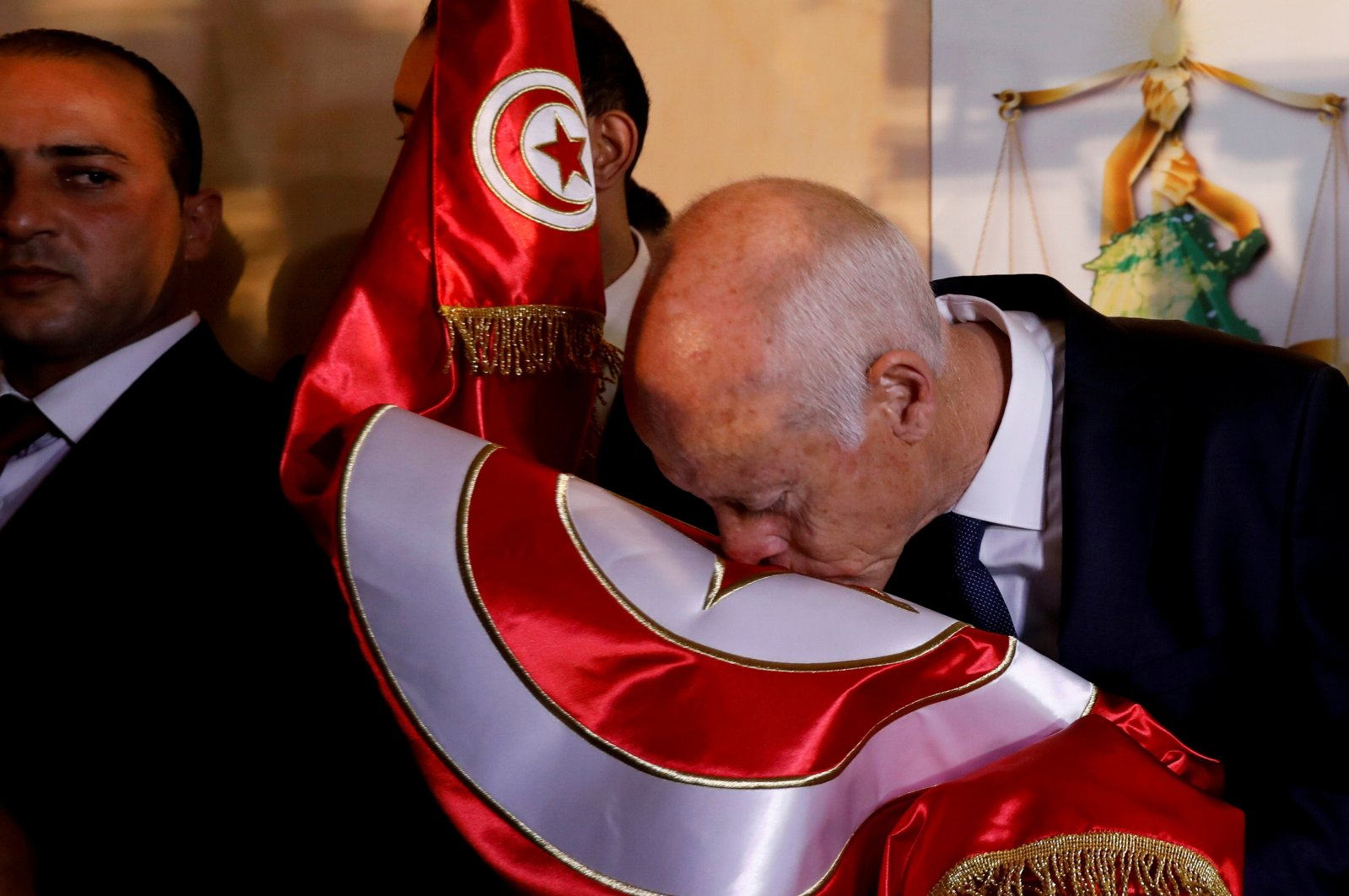 Tunisian President Kais Saied reacts after exit poll results were announced in a second round runoff of the presidential election in Tunis, Tunisia, Oct. 13, 2019. (REUTERS Photo)