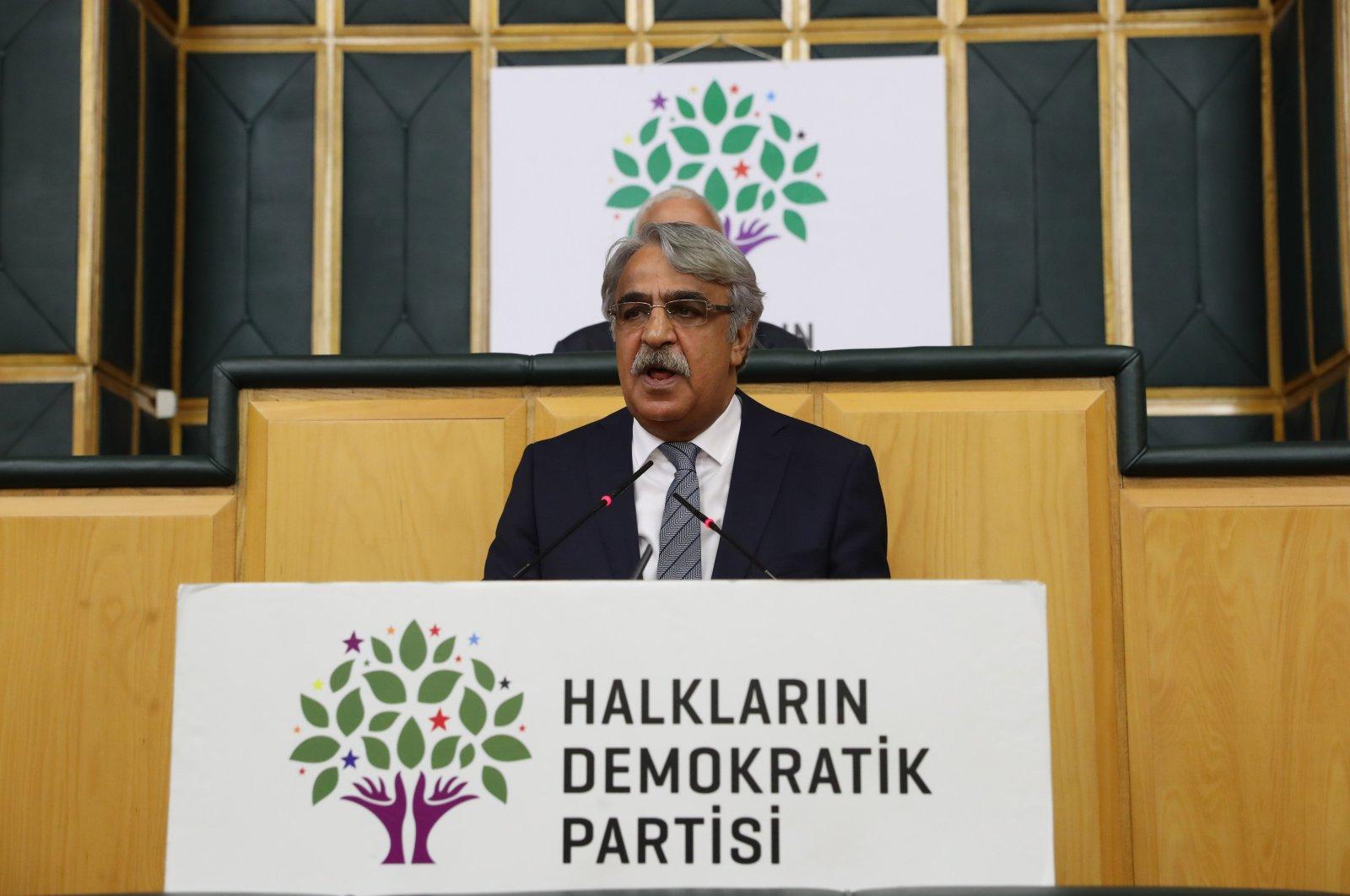 HDP co-Chairperson Mithat Sancar speaks at the Turkish Parliament, Ankara, Turkey, July 21, 2020. (Sabah File Photo)