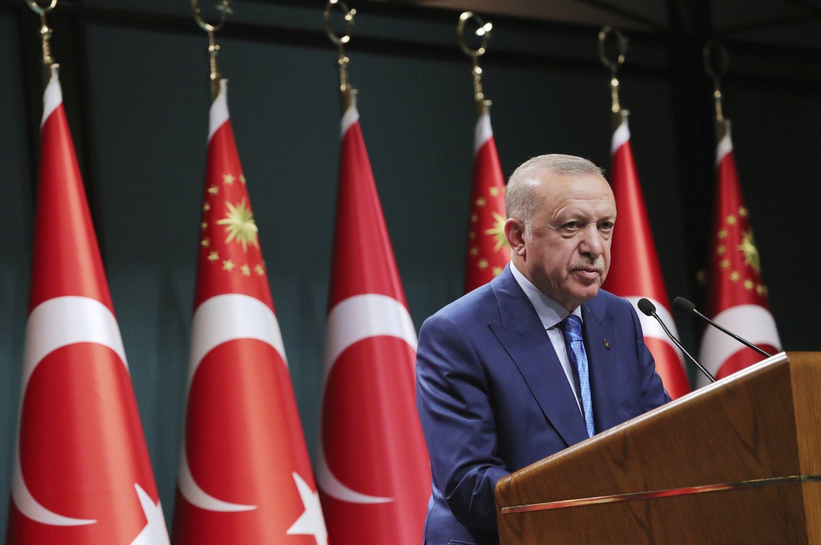 President Recep Tayyip Erdoğan speaks during a televised address following a cabinet meeting, in Ankara, Turkey, Thursday, Aug. 19, 2021. (Turkish Presidency via AP, Pool)