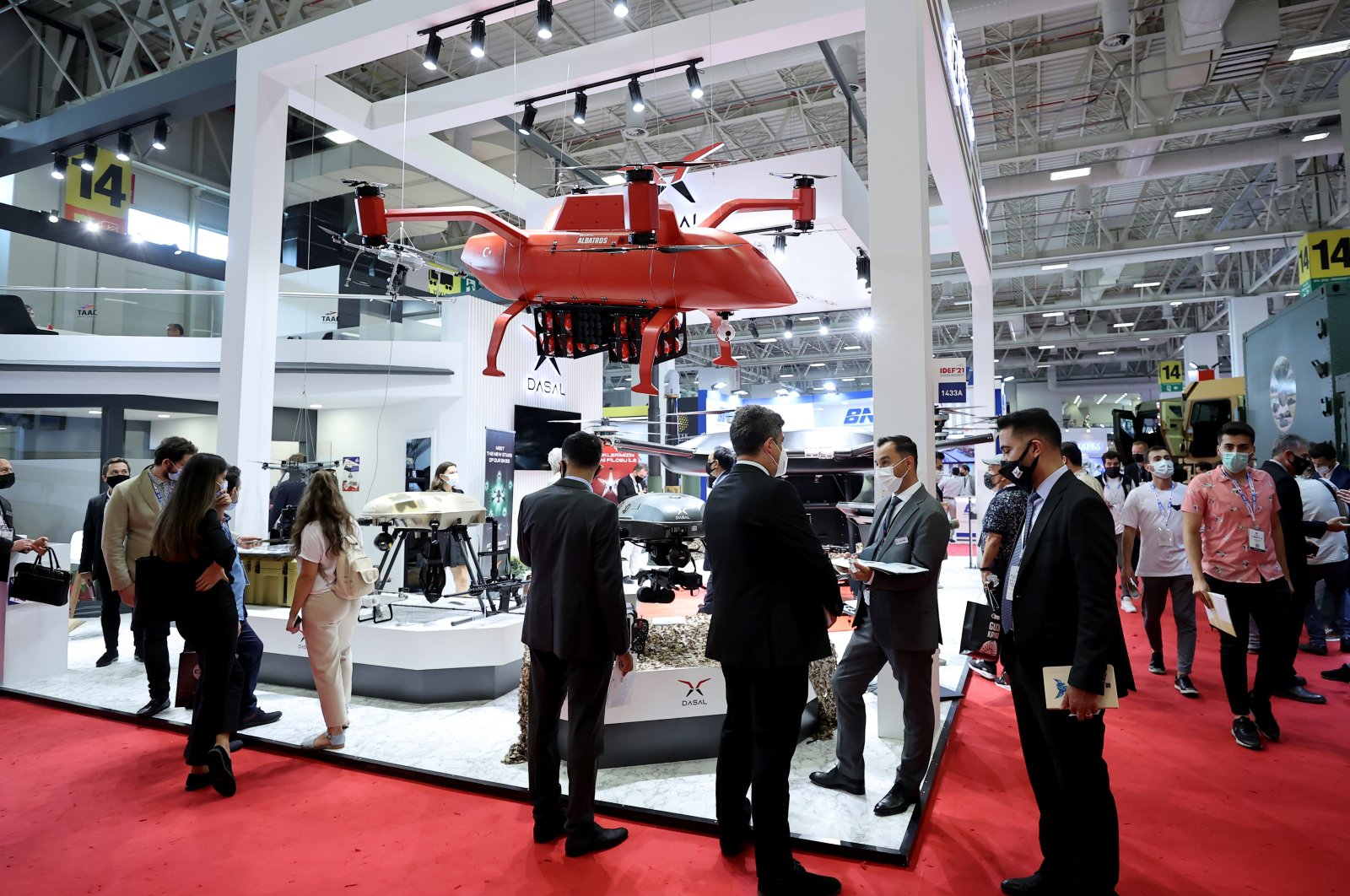 Firefighter UAVs belonging to DASAL in display at IDEF 2021, Istanbul, Turkey, Aug. 23, 2021. (AA Photo)