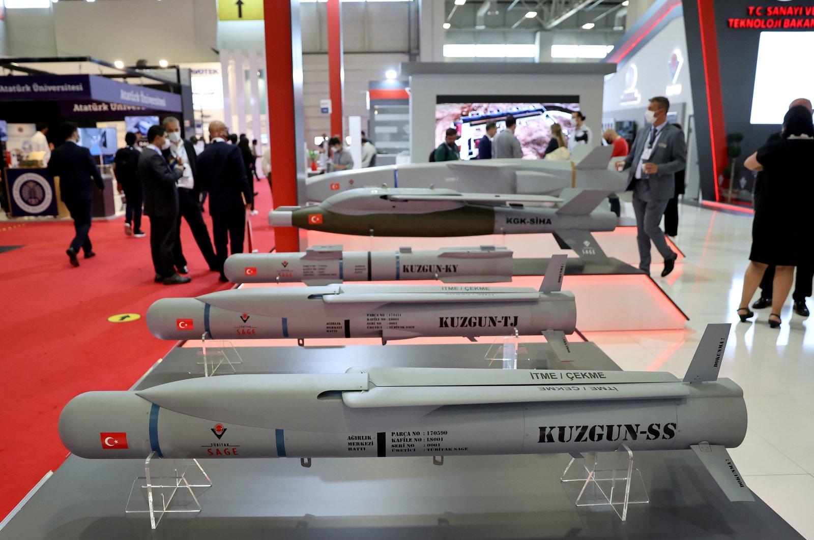 TÜBİTAK SAGE-developed ammunitions on display at IDEF, Istanbul, Turkey, Aug. 19, 2021. (AA Photo)