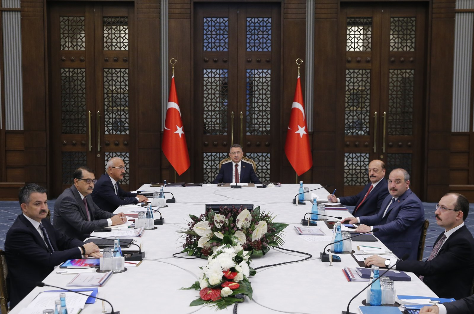 Vice President Fuat Oktay (C) delivers a speech beforea meeting of Turkey'sEconomic Coordination Council, Aug. 23, 2021. (AA Photo)