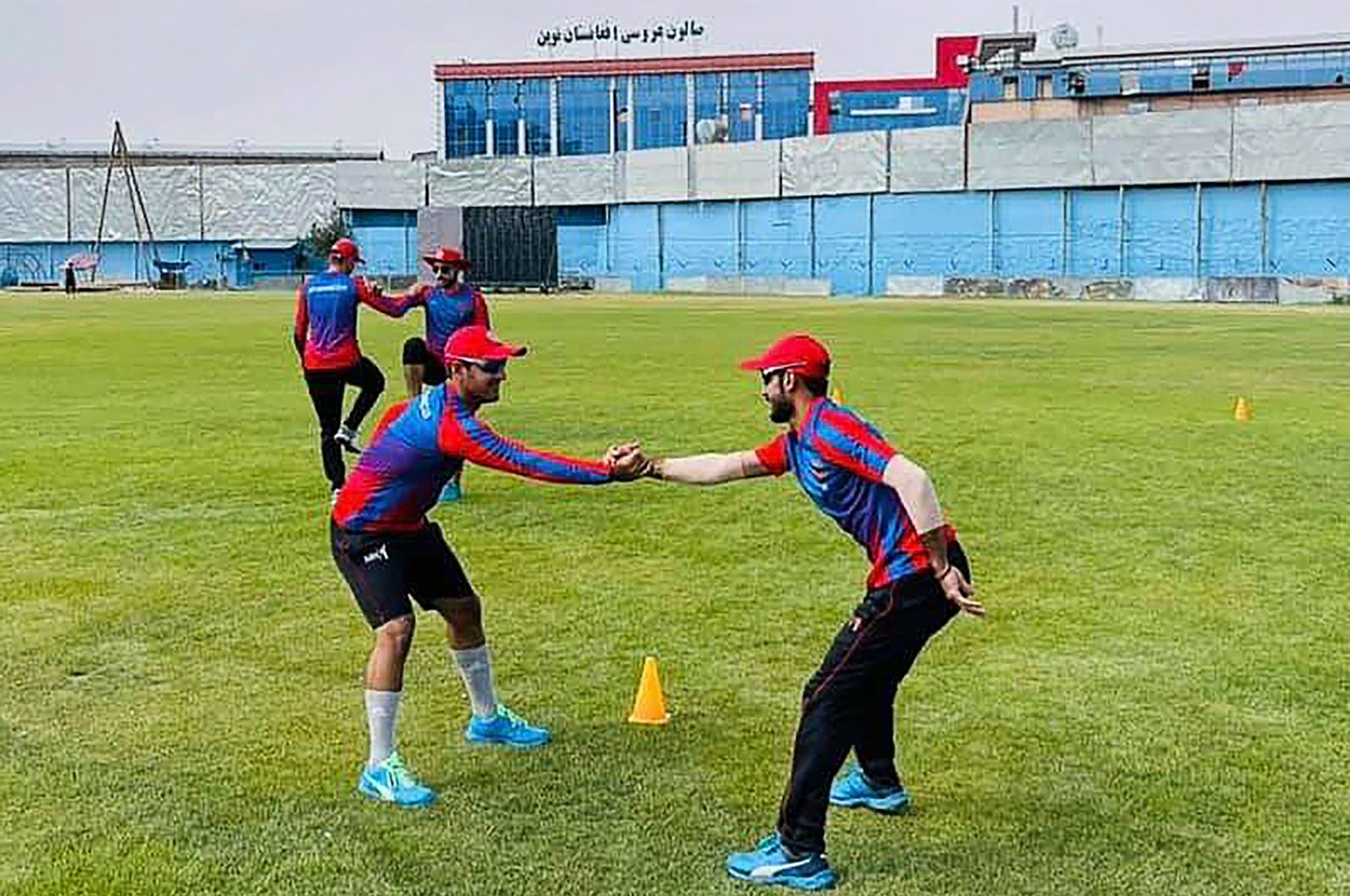 Afghan cricketers train ahead of their one-day series against Pakistan, scheduled to take place in Sri Lanka in two weeks, Kabul, Afghanistan, Aug. 18, 2021. (Afghanistan Cricket Board/AFP Photo)