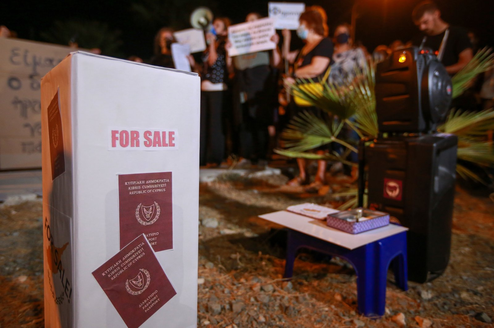 Mock passports for sale stand are seen during an anti-corruption protest in Nicosia, Greek Cyprus, Oct. 14, 2020. (Getty Images)