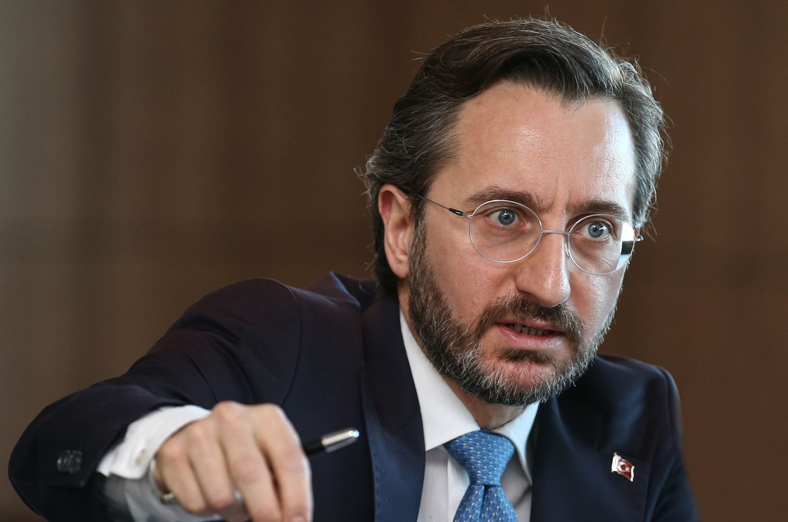 Communications Director Fahrettin Altun speaks during a press conference at the Communications Directorate in Ankara on Dec. 12, 2020 (AA Photo)
