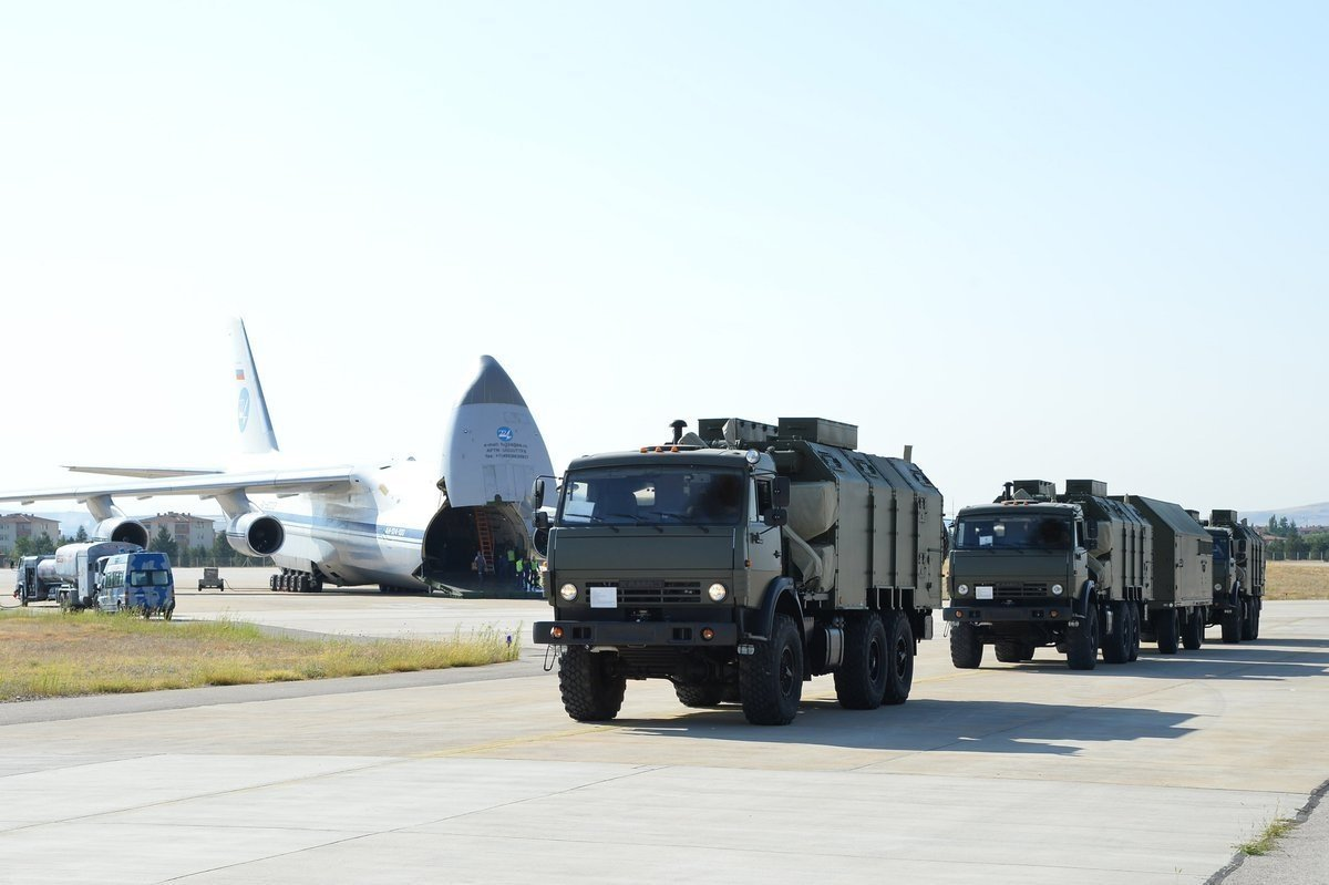 A Russian military cargo plane carrying the S-400 missile defense system from Russia to the Mürted military air base, in Ankara, Turkey, July 12, 2019. (Photo by Turkish Defense Ministry via AFP)