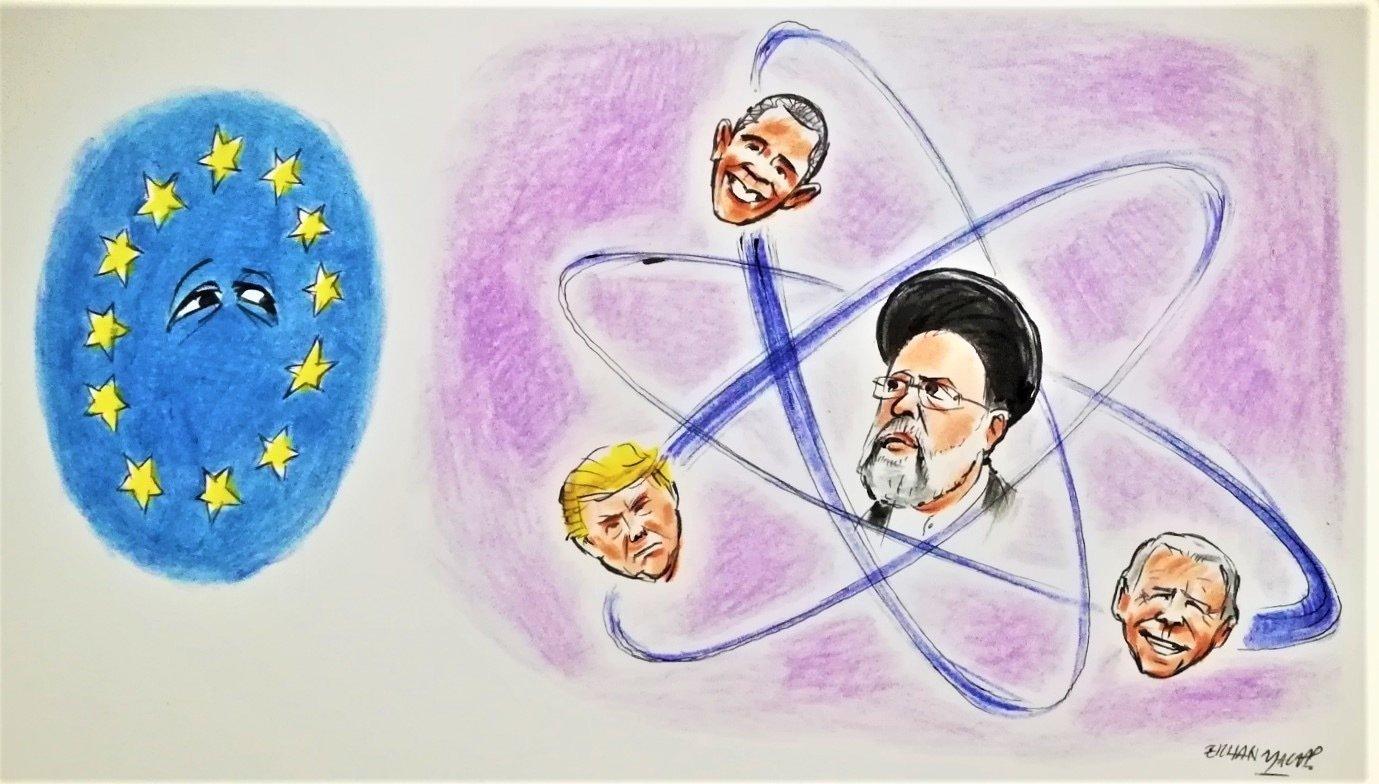 The illustration by Erhan Yalvaç, shows Iran's President Ebrahim Raisi surrounded by former U.S. Presidents Barack Obama, Donald Trump and the current president, Joe Biden.