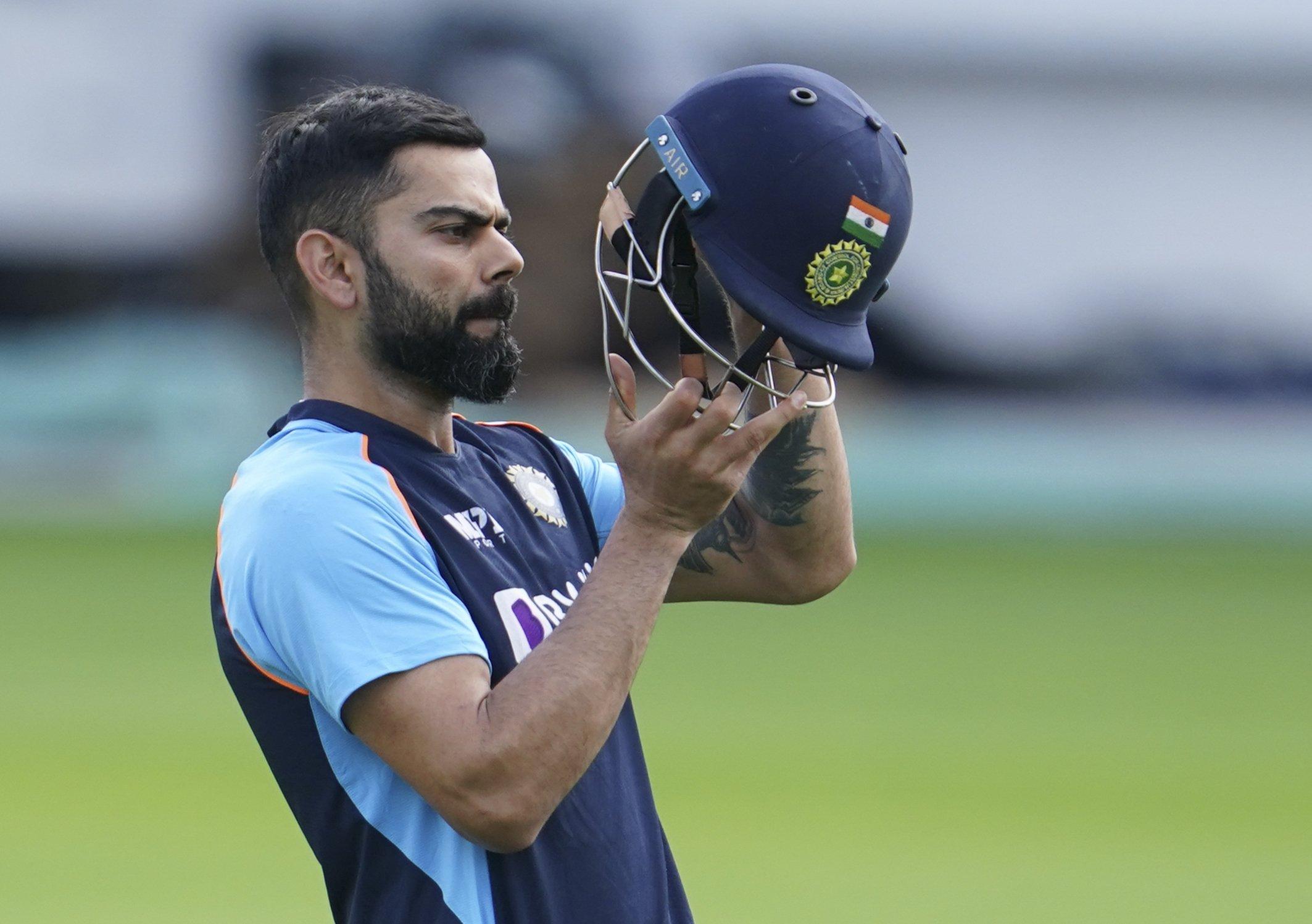 India captain Virat Kohli prepares to bat during a nets session at Headingley cricket ground in Leeds, England, Aug. 23, 2021. (AP Photo)