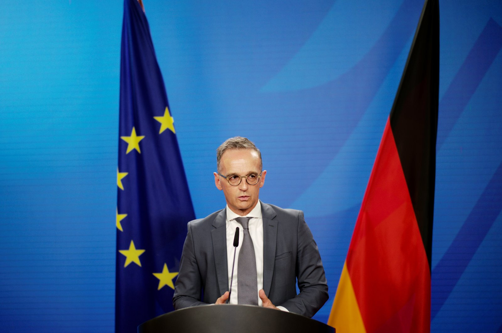 German Foreign Minister Heiko Maas briefs the media about the ongoing German evacuation operation and current situation in Afghanistan, at the Foreign Ministry in Berlin, Germany, Aug. 18, 2021. (REUTERS Photo)