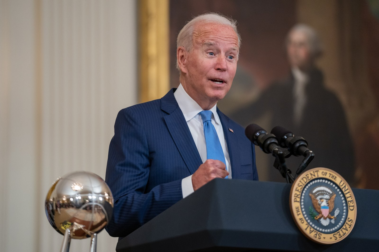 U.S. President Joe Biden welcomes the Seattle Storm to honor the team for their 2020 WNBA Championship win, at the White House in Washington, D.C., U.S., Aug. 23, 2021. (EPA Photo)