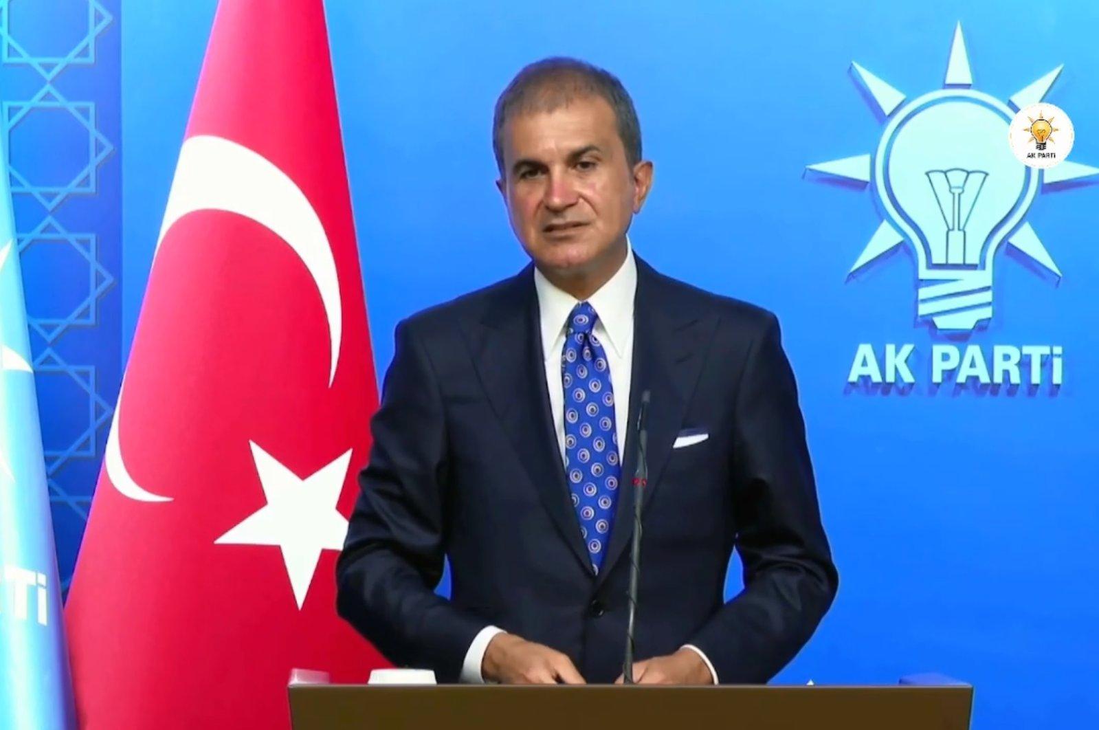AK Party spokesperson Ömer Çelik speaks at a news conference in Ankara, Turkey, Aug. 23, 2021. (DHA Photo)