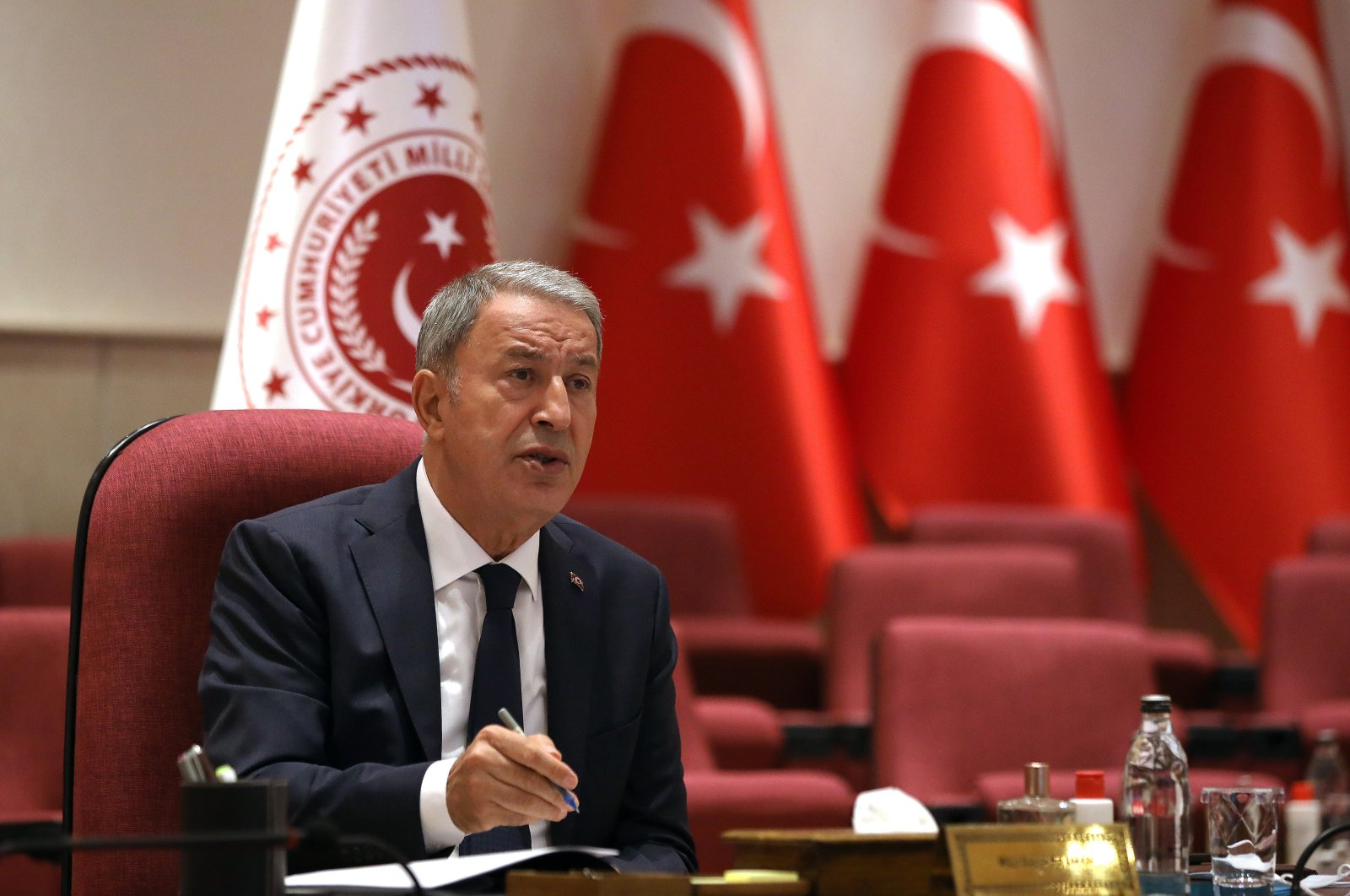 Defense Minister Hulusi Akar presiding over a military conference on the recent developments in Afghanistan in Ankara, Turkey, Aug. 23, 2021. (AA Photo)