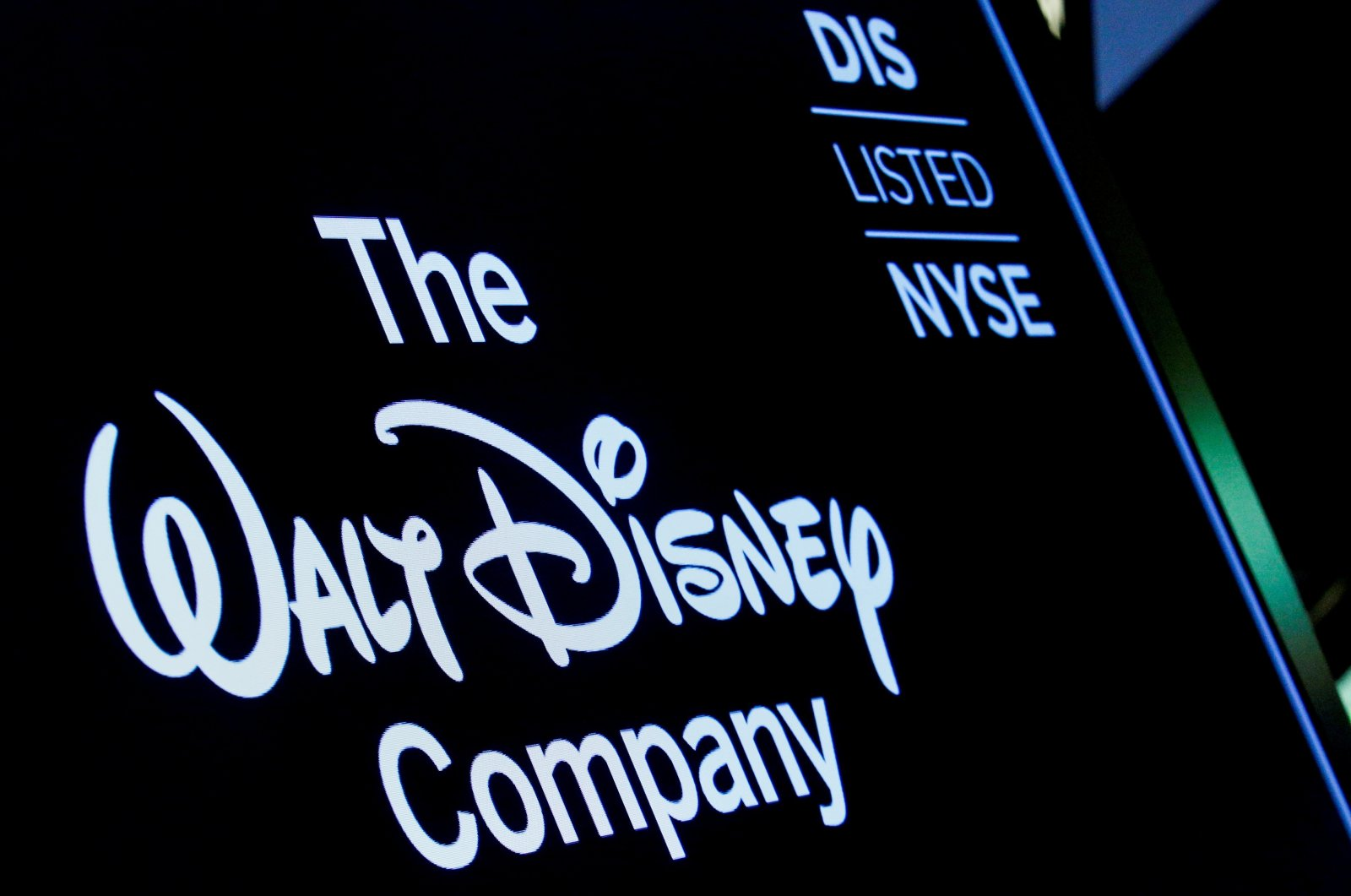 A screen shows the logo and a ticker symbol for the Walt Disney Company on the floor of the New York Stock Exchange (NYSE) in New York, U.S., December 14, 2017. (REUTERS Photo)