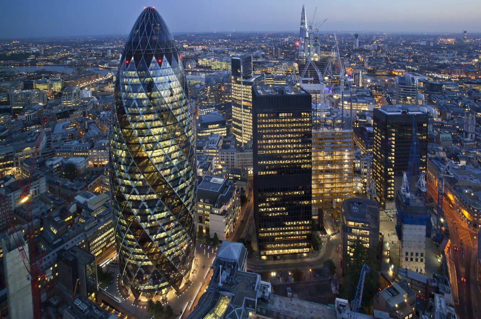 A view of London shot by a drone at sunset, U.K. (Shutterstock Photo)
