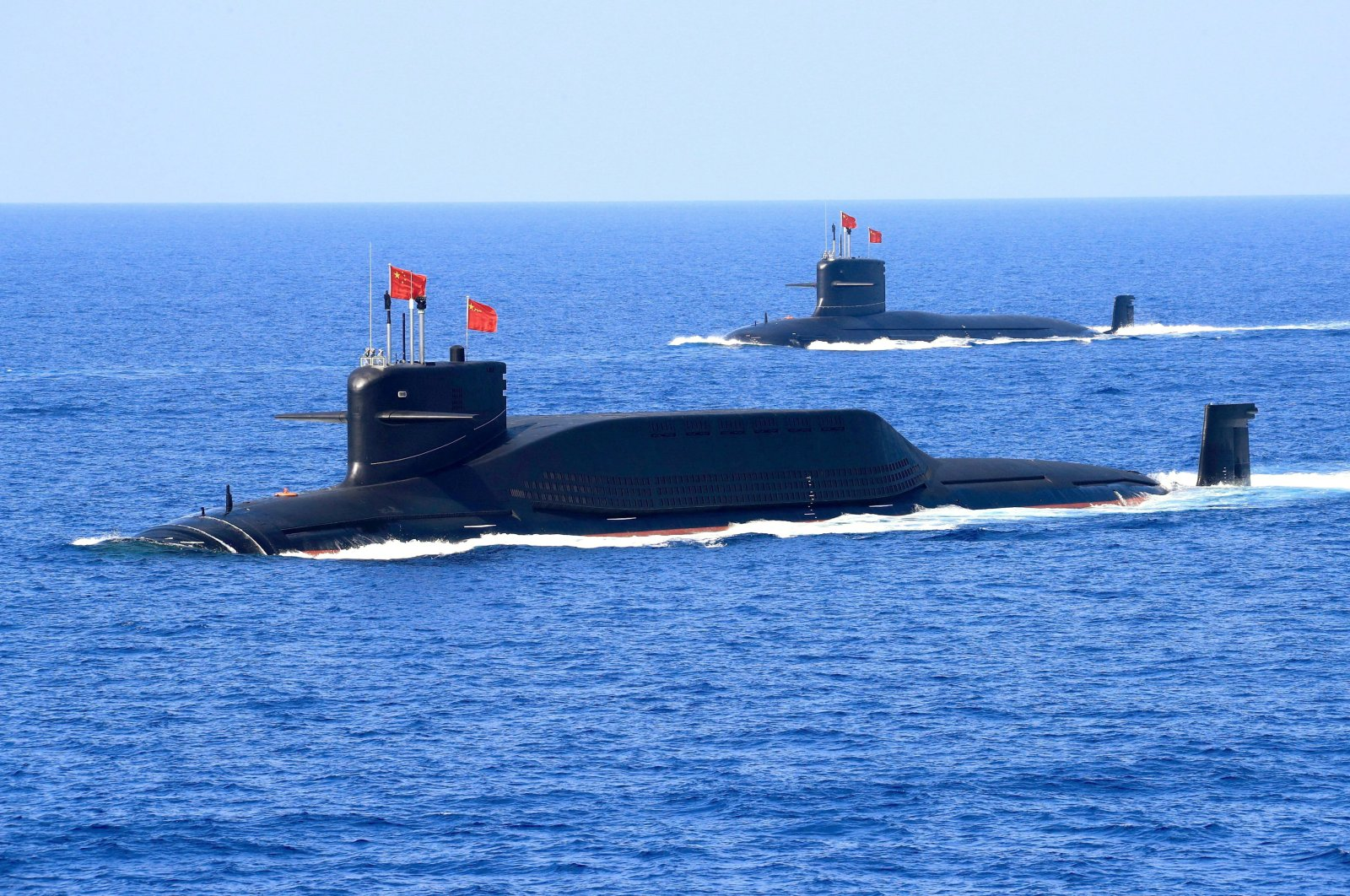 A nuclear-powered Jin-class ballistic missile submarine of the Chinese People's Liberation Army (PLA) Navy is seen during a military display in the South China Sea, April 12, 2018. (Reuters Photo)