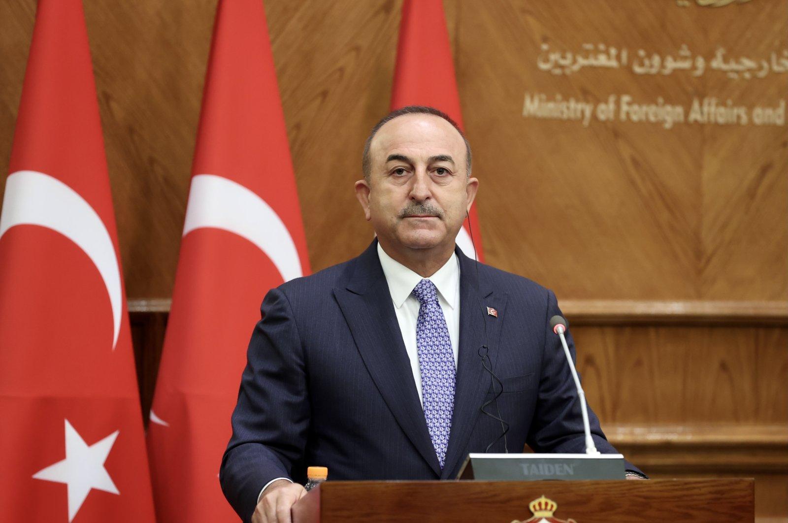 Foreign Minister Mevlüt Çavuşoğlu during a press conference in Jordan, Aug. 17, 2021 (AA Photo)