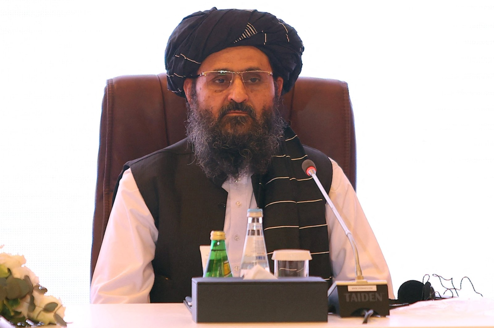 The leader of the Taliban negotiating team, Mullah Abdul Ghani Baradar, attends the final declaration of the peace talks between the Afghan government and the Taliban presented in Qatar's capital Doha, July 18, 2021. (AFP Photo)