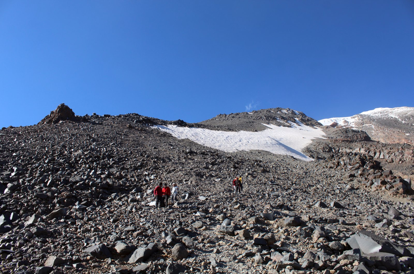 A view of the shrinking glacier at Mount Ağrı, in Ağrı, eastern Turkey, Aug. 24, 2021. (AA Photo)