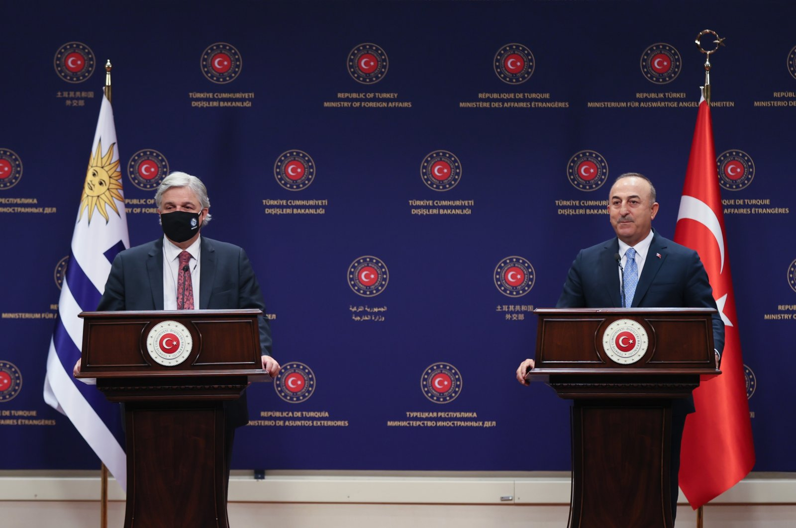 Foreign Minister Mevlüt Çavuşoğlu speaks at joint news conference with Uruguayan counterpart Francisco Bustillo Bonasso in Ankara, Turkey, Aug. 24, 2021. (AA Photo)