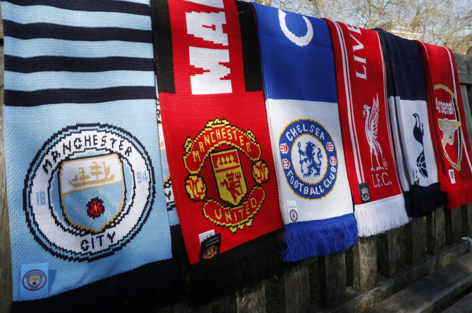 A selection of scarves of the Premier League giants in London, England, April 19, 2021. (AP Photo)