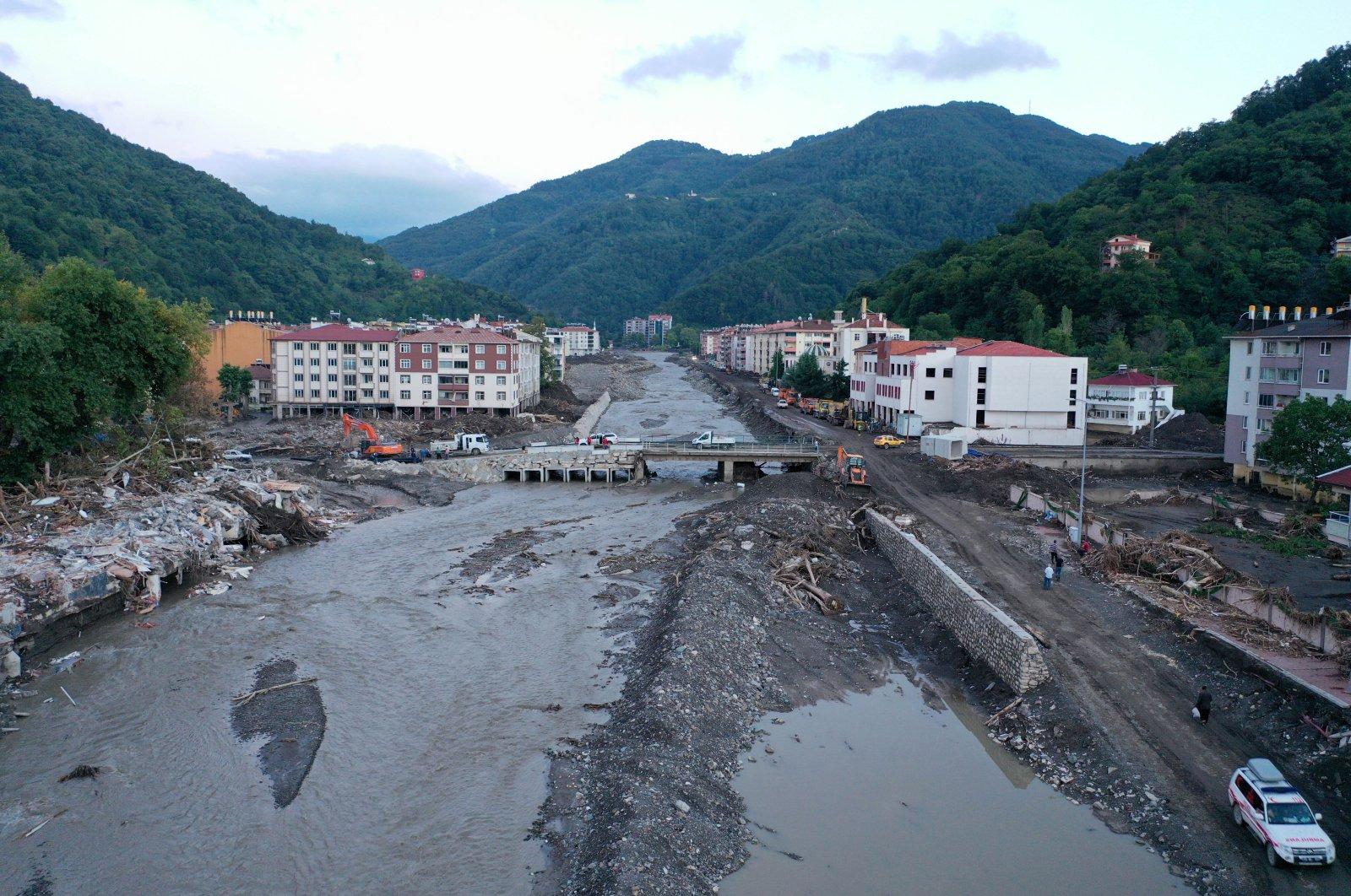 A view of Ezine stream strewn with debris left behind by floods, in Bozkurt district, in Kastamonu, northern Turkey, Aug. 24, 2021. (AA PHOTO)