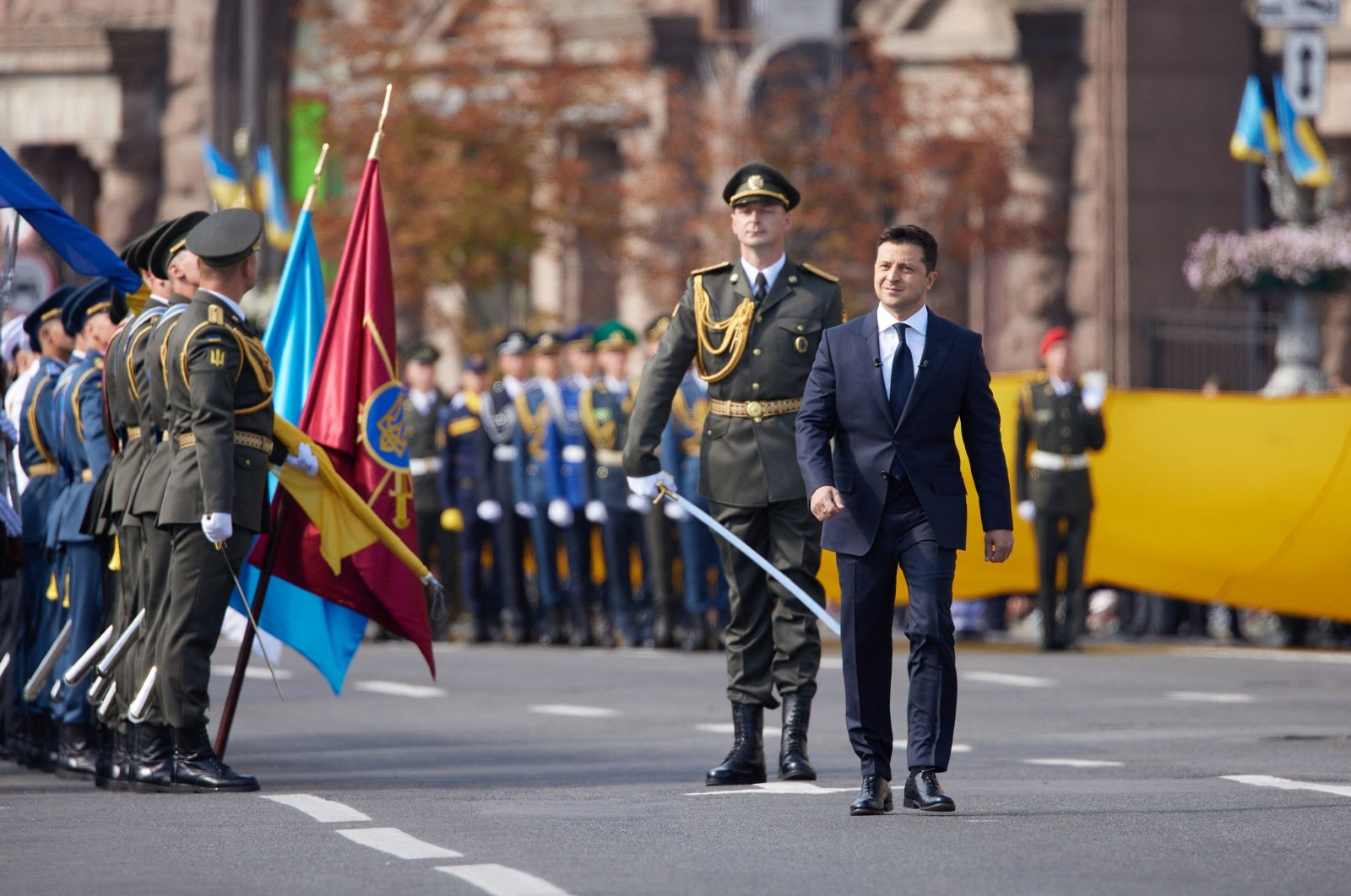 Ukrainian President Volodymyr Zelensky walks during the Independence Day military parade in Kyiv, Ukraine, Aug. 24, 2021. (Ukrainian Presidential Press Service via AFP)