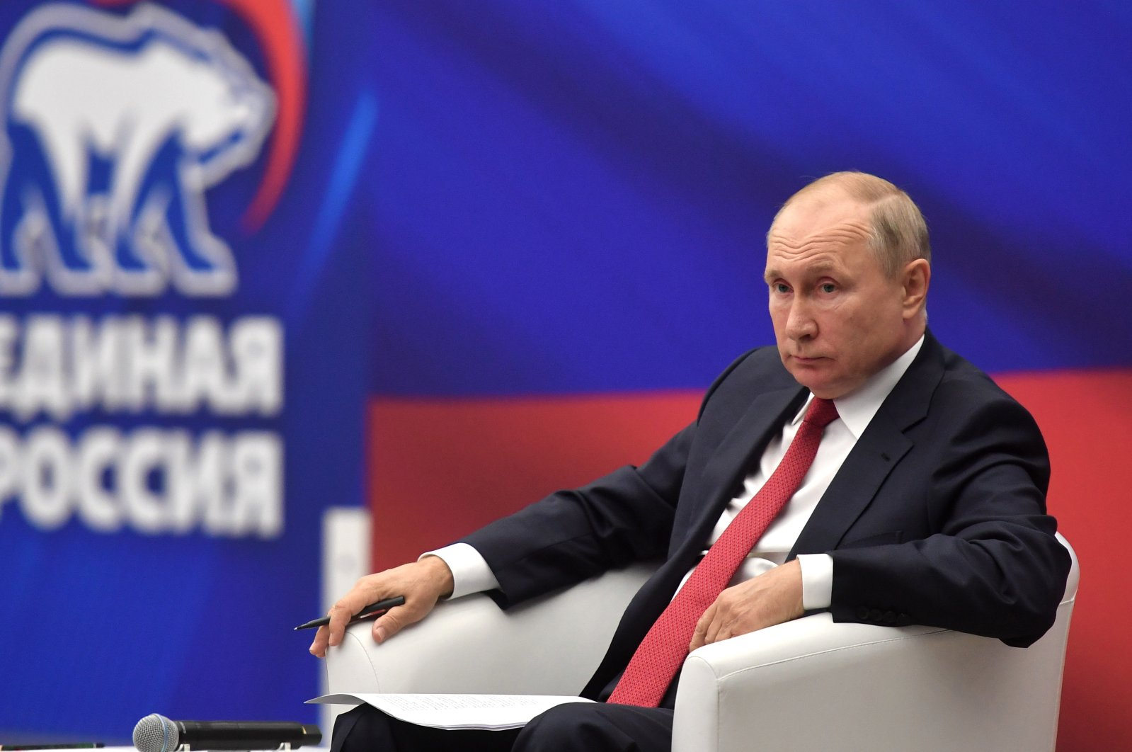 Russian President Vladimir Putin attends a meeting with members of the United Russia party in Moscow, Russia, Aug. 22, 2021.  (EPA Photo)